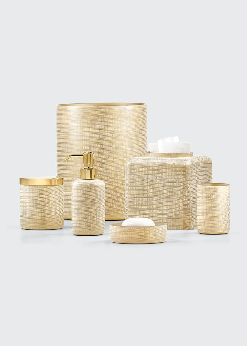 Labrazel Woven Tissue Box Cover, Gold Woven Pump Dispenser, Gold Woven Canister, Gold