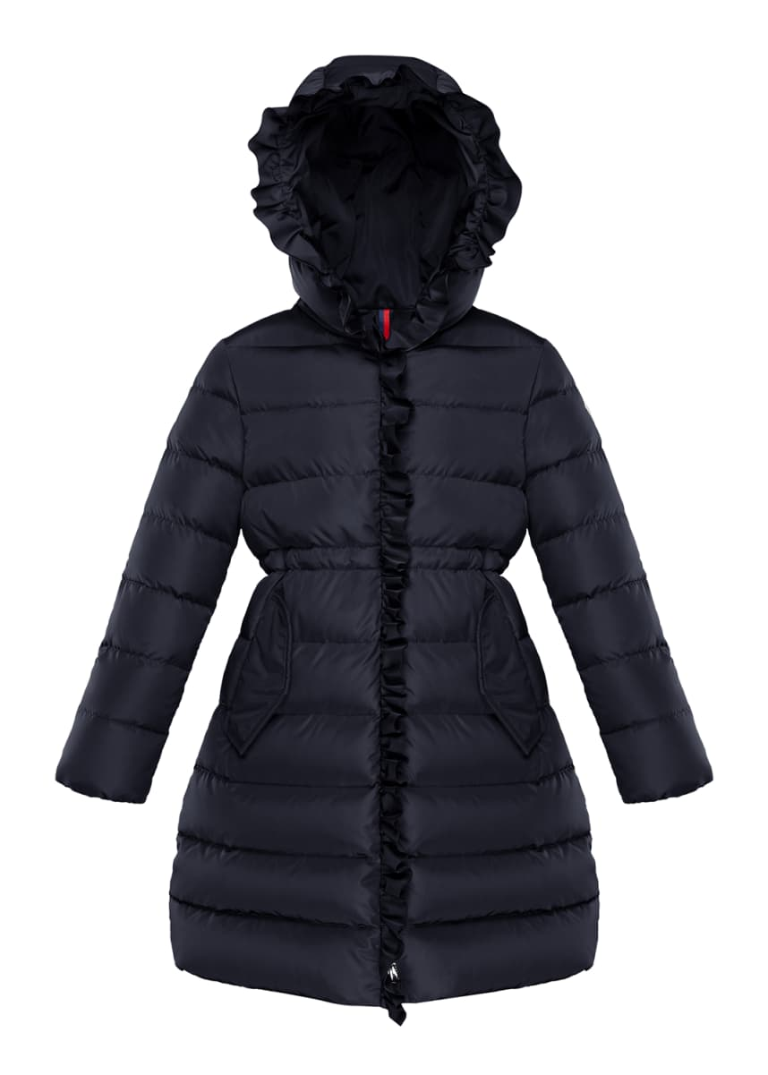 Moncler Girl's Vennal Technique Long Ruffled Coat, Size 4-6 Girl's Vennal Technique Long Ruffled Coat, Size 8-14