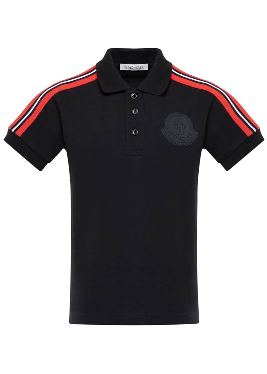 Moncler Girl's Short-Sleeve Pique Polo w/ Shoulder Stripes, Size 4-6 Girl's Short-Sleeve Pique Polo w/ Shoulder Stripes, Size 8-14
