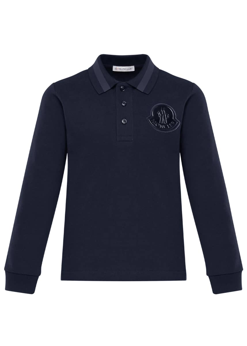 Moncler Long-Sleeve Polo w/ Bell Logo, Size 8-14 Long-Sleeve Polo w/ Bell Logo, Size 4-6