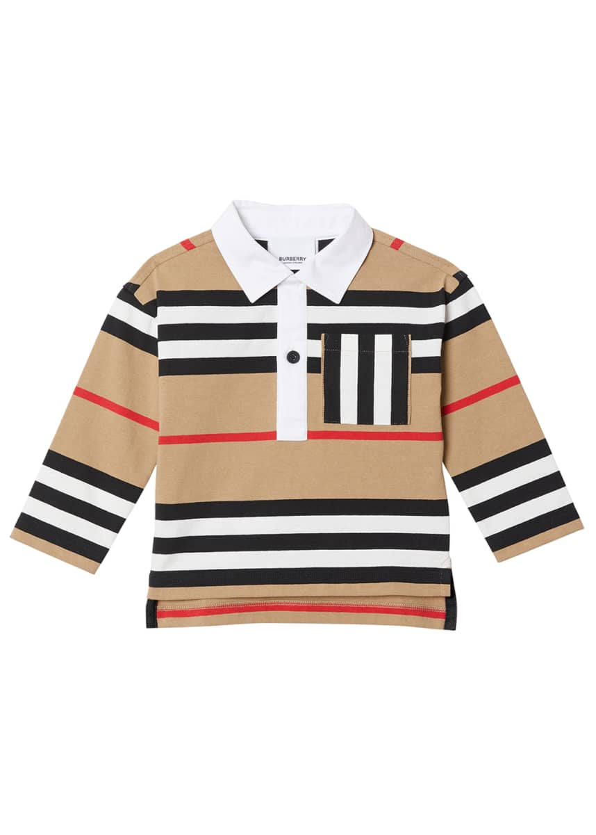 Burberry Boy's Cuthbert Icon Stripe Collared Shirt, Size 6M-2 Boy's Cuthbert Icon Stripe Collared Shirt, Size 3-14