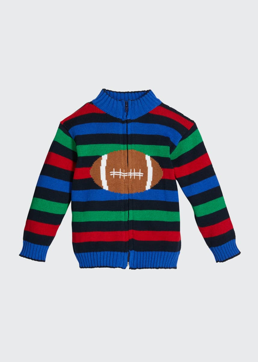 Florence Eiseman Boy's Multicolor Striped Football Intarsia Jacket, Size 2-4T Boy's Multicolor Striped Football Intarsia Knit Jacket, Size 12-24M