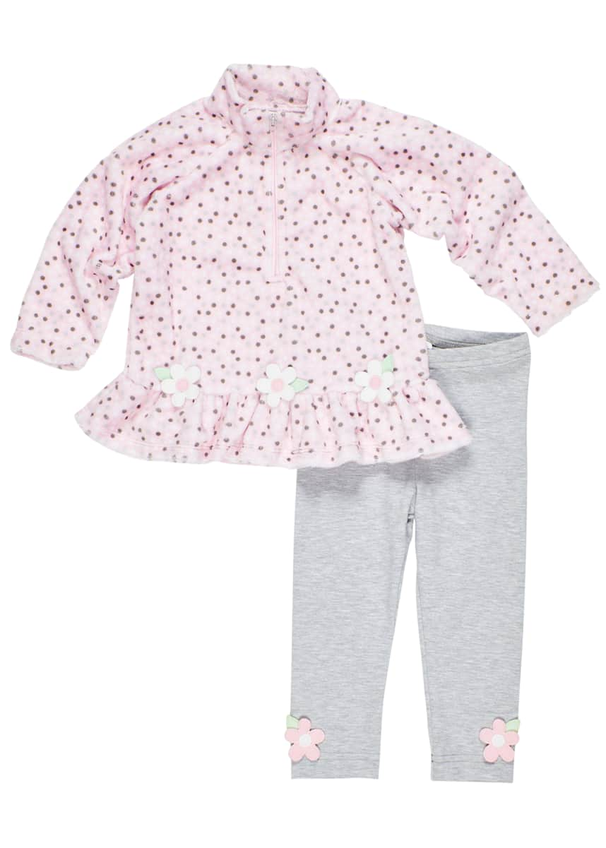 Florence Eiseman Girl's Dotted Fleece Zip Top & Leggings Set, Size 2-6X Dotted Fleece Zip Top & Leggings Set, Size 9-24 Months