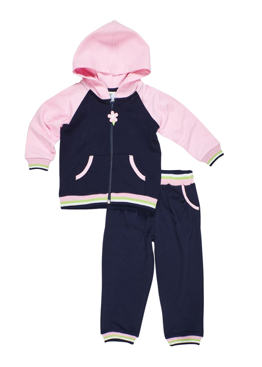 Florence Eiseman Girl's French Terry Zip-Front Hoodie & Pants Set, Size 6-24 Months Girl's French Terry Zip-Front Hoodie & Pants Set, Size 2-6X