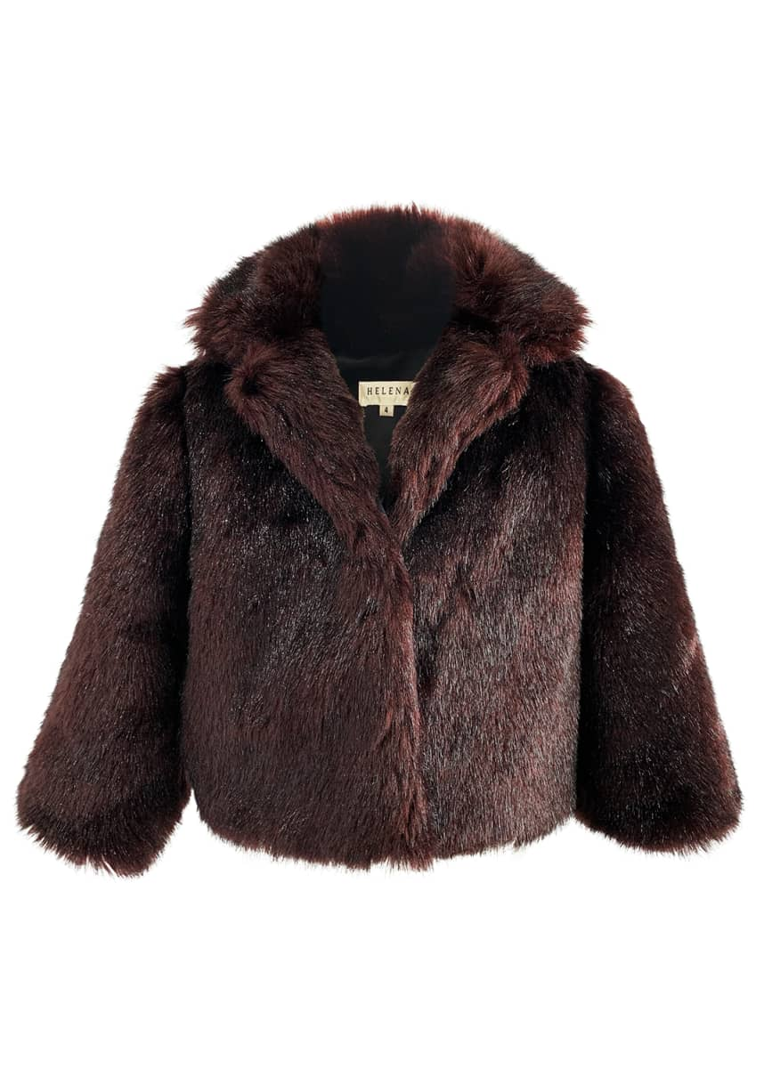 Helena Girl's Notch-Collar Faux Fur Jacket, Size S-M Girl's Notch-Collar Faux-Fur Jacket, Size L-XL