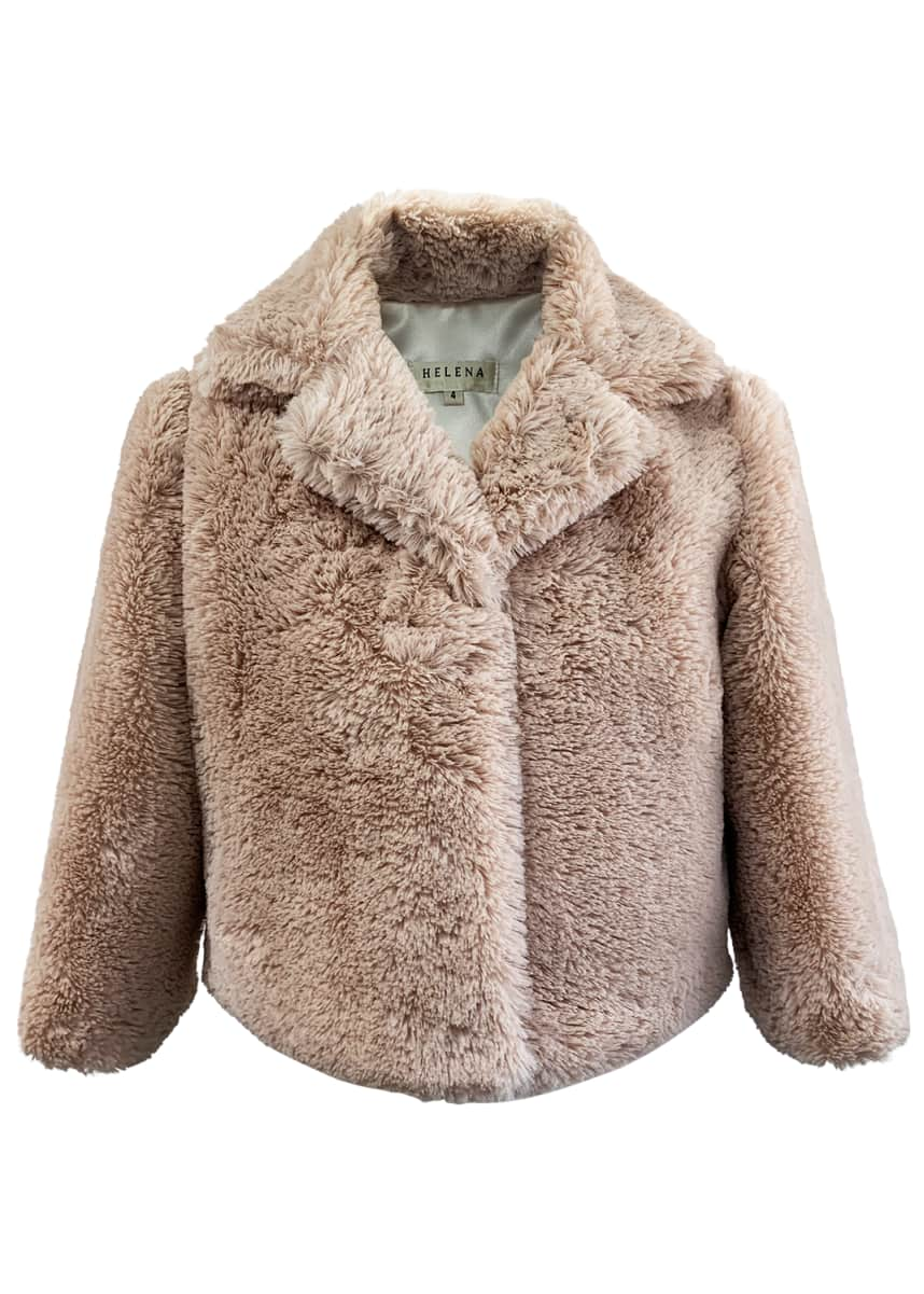 Helena Girl's Notch-Collar Faux-Fur Jacket, Size L-XL Girl's Notch-Collar Faux-Fur Jacket, Size S-M