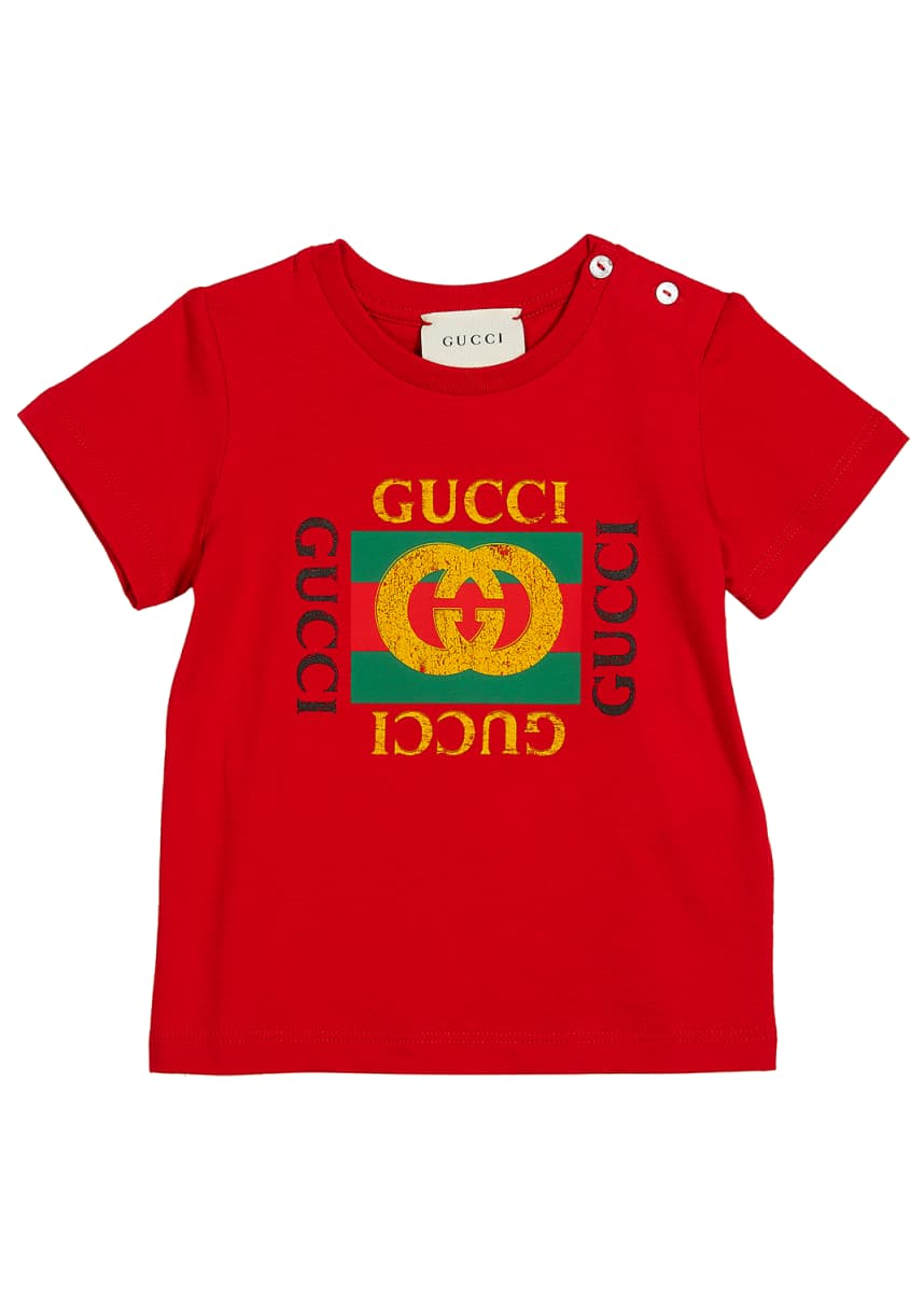 Gucci Short-Sleeve Vintage Logo T-Shirt, Size 3-36 Months
