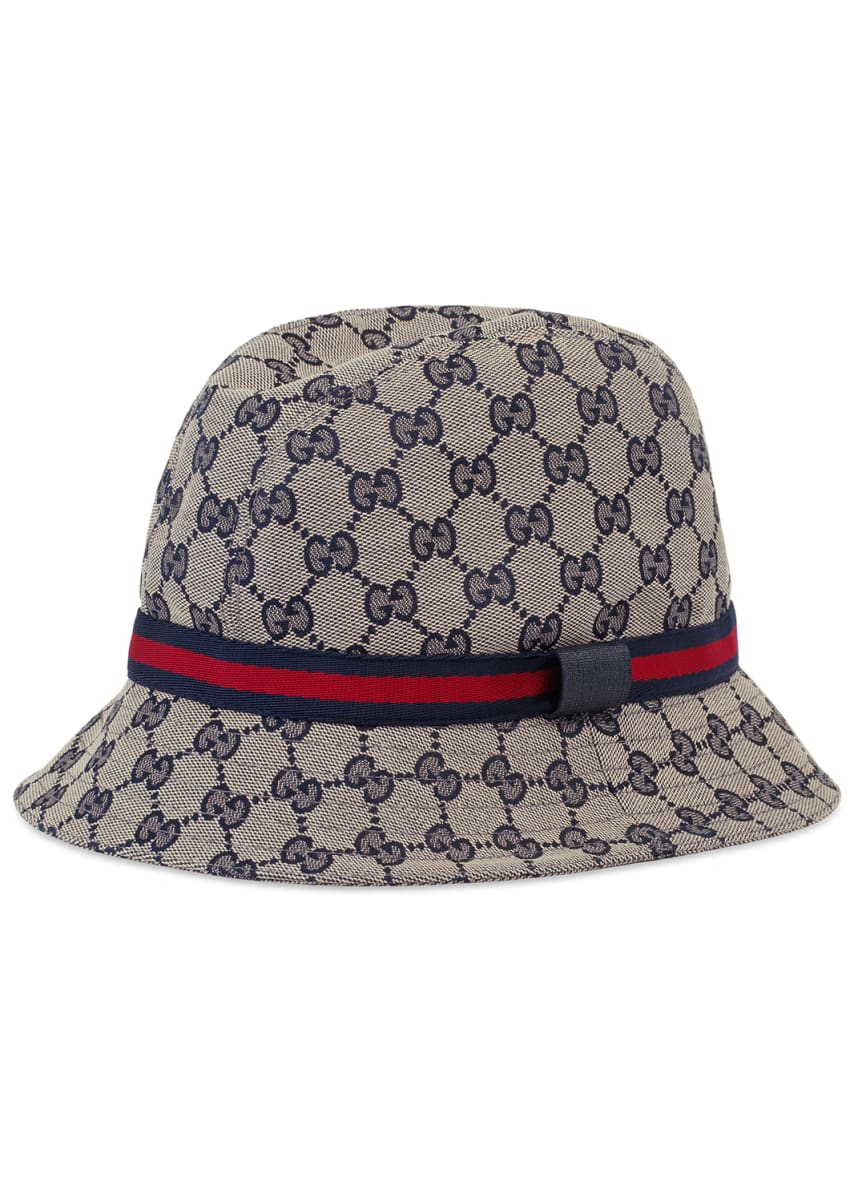 Gucci Kids' GG Supreme Canvas Bucket Hat w/ Web Hat Band