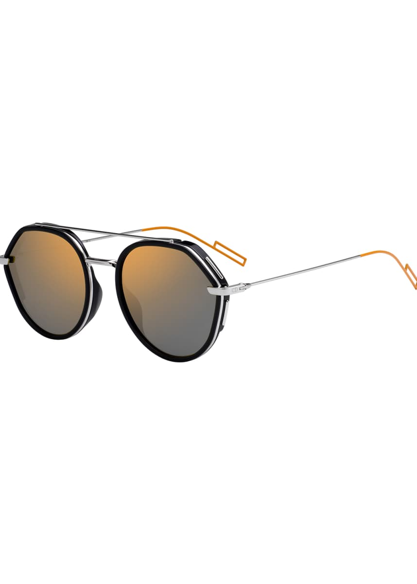 Dior Men's Round Metal/Acetate Sunglasses with Double Bridge