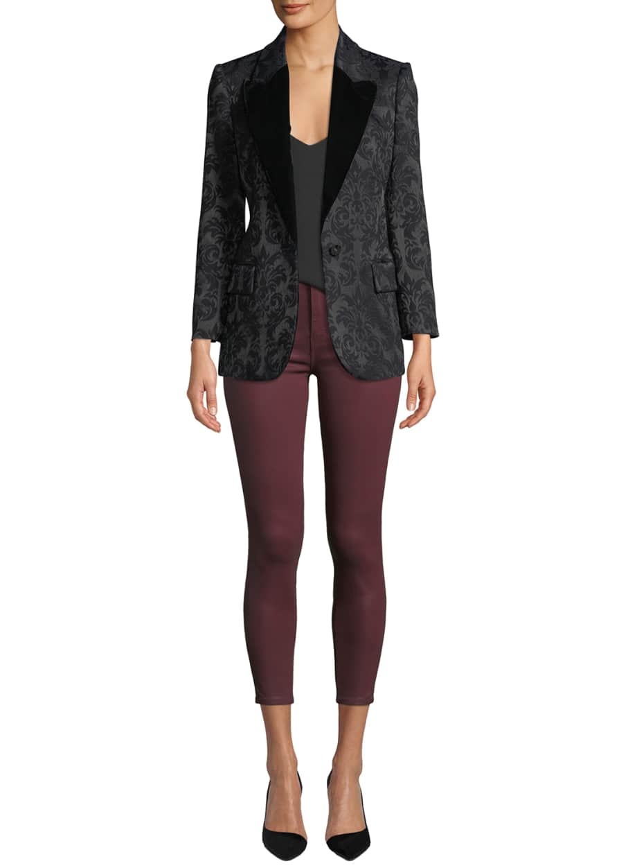 Neval Jacquard Suiting Blazer with Contrast Lapels and Matching Items