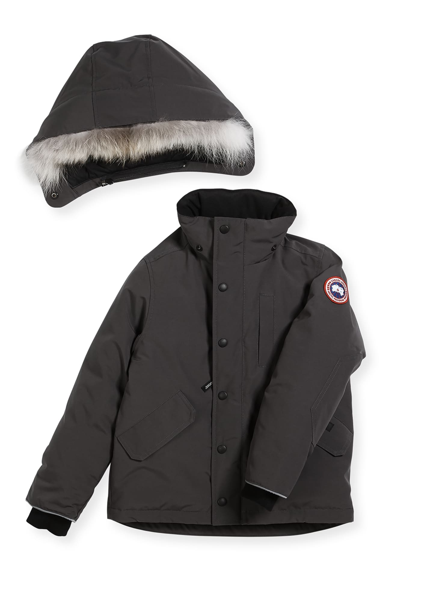 Image 2 of 2: Boys' Logan Parka with Fur Trim, Size XS-XL