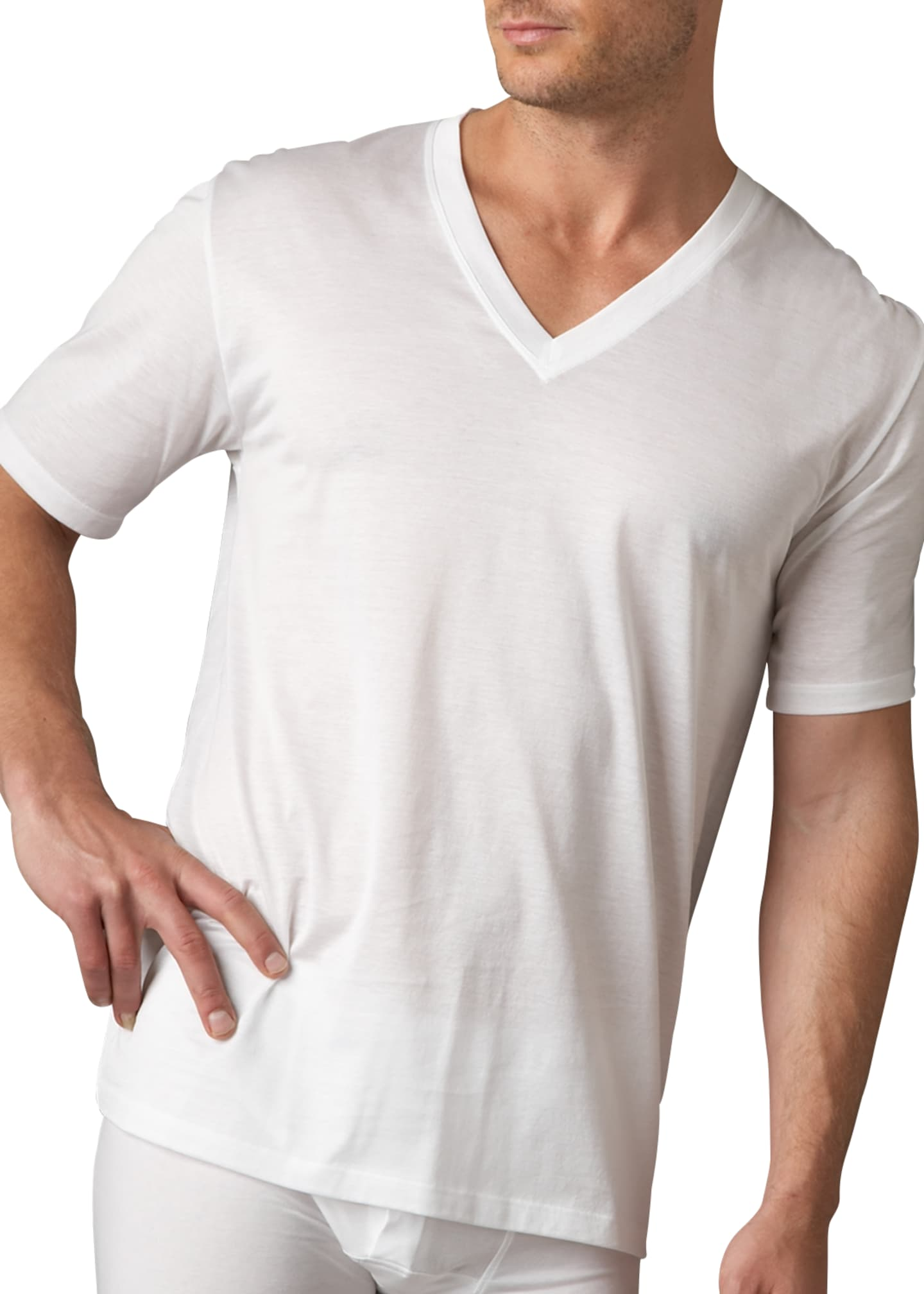 Image 1 of 1: Cotton Sporty V-Neck T-Shirt