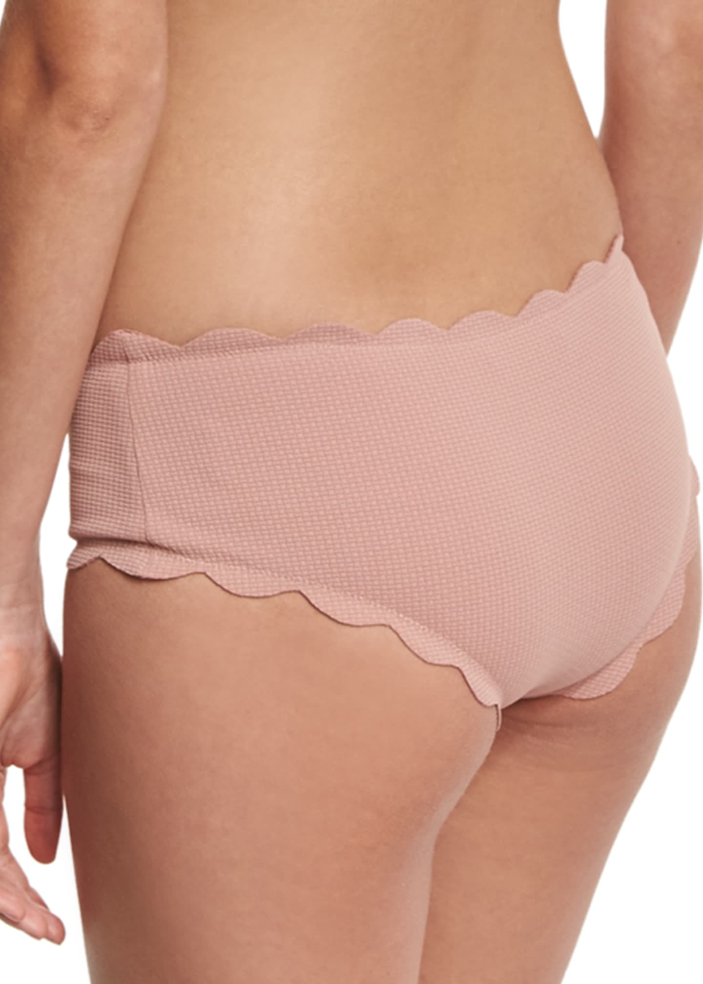 Image 2 of 2: Spring Scalloped Boy-Cut Bikini Swim Bikini Bottom