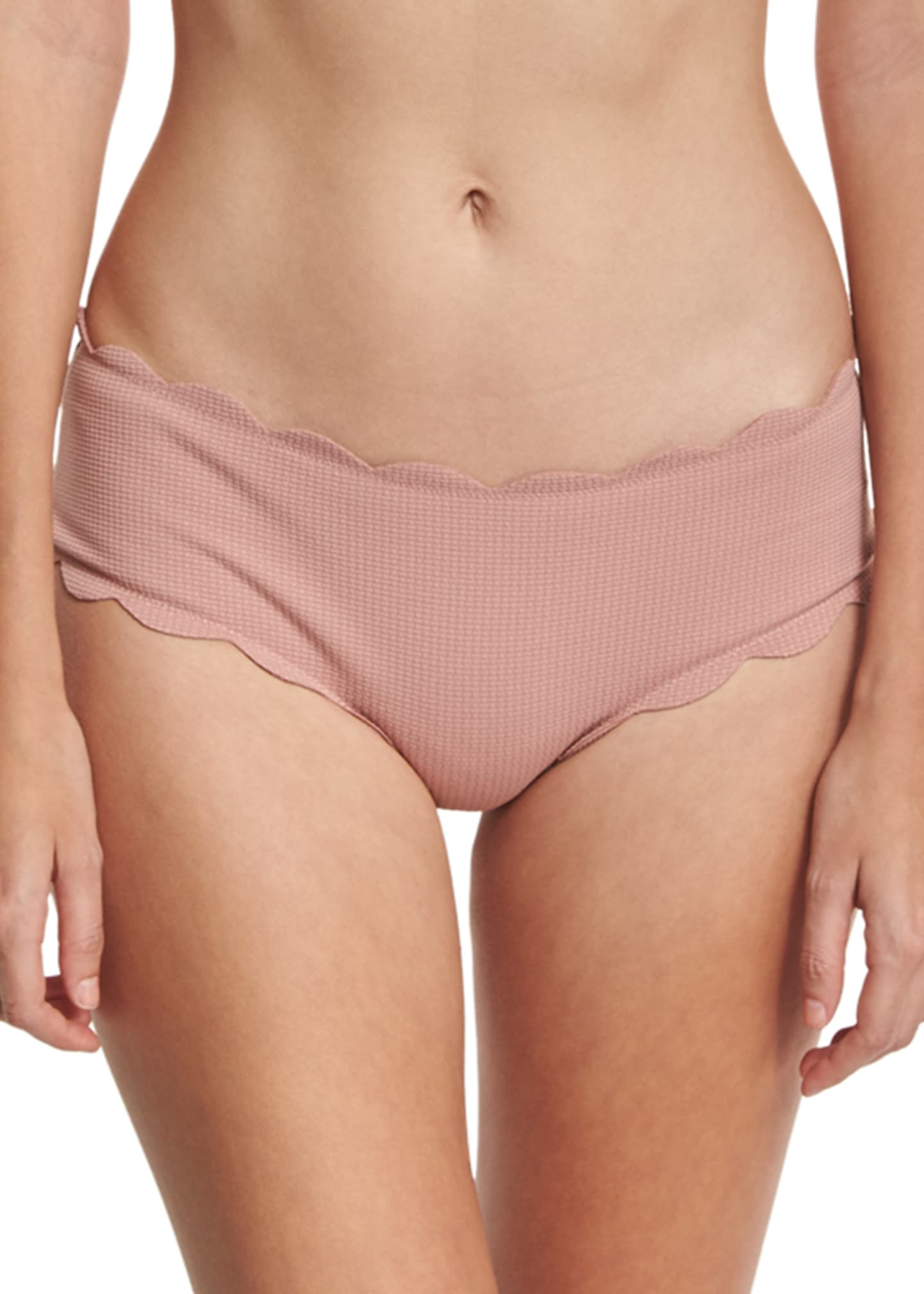 Image 1 of 2: Spring Scalloped Boy-Cut Bikini Swim Bikini Bottom
