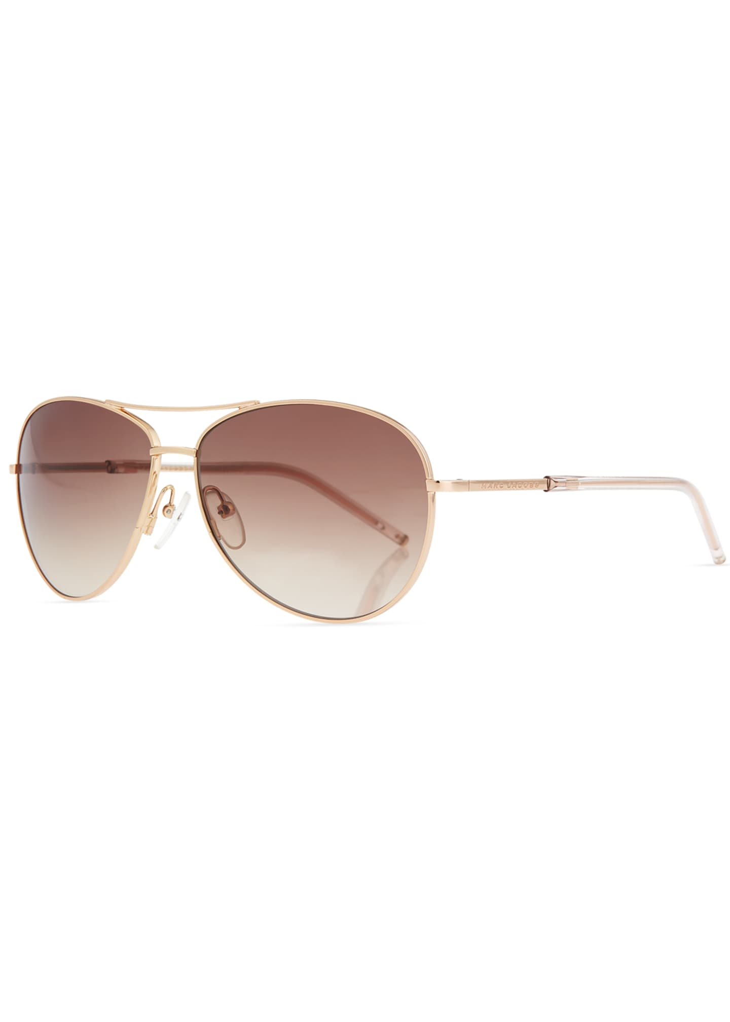 The Marc Jacobs Metal Curved-Brow Aviator Sunglasses
