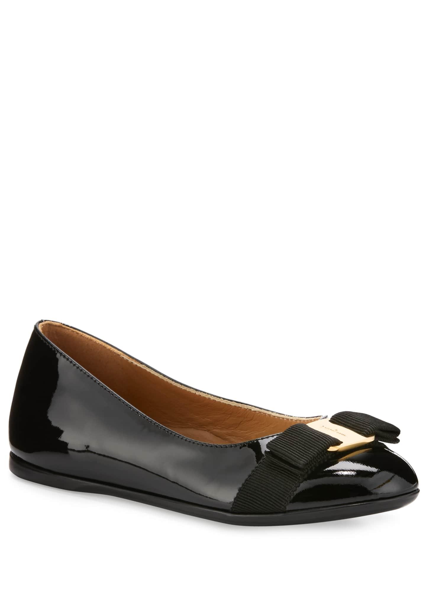 Salvatore Ferragamo Varina Mini Patent Leather Ballet Flats,
