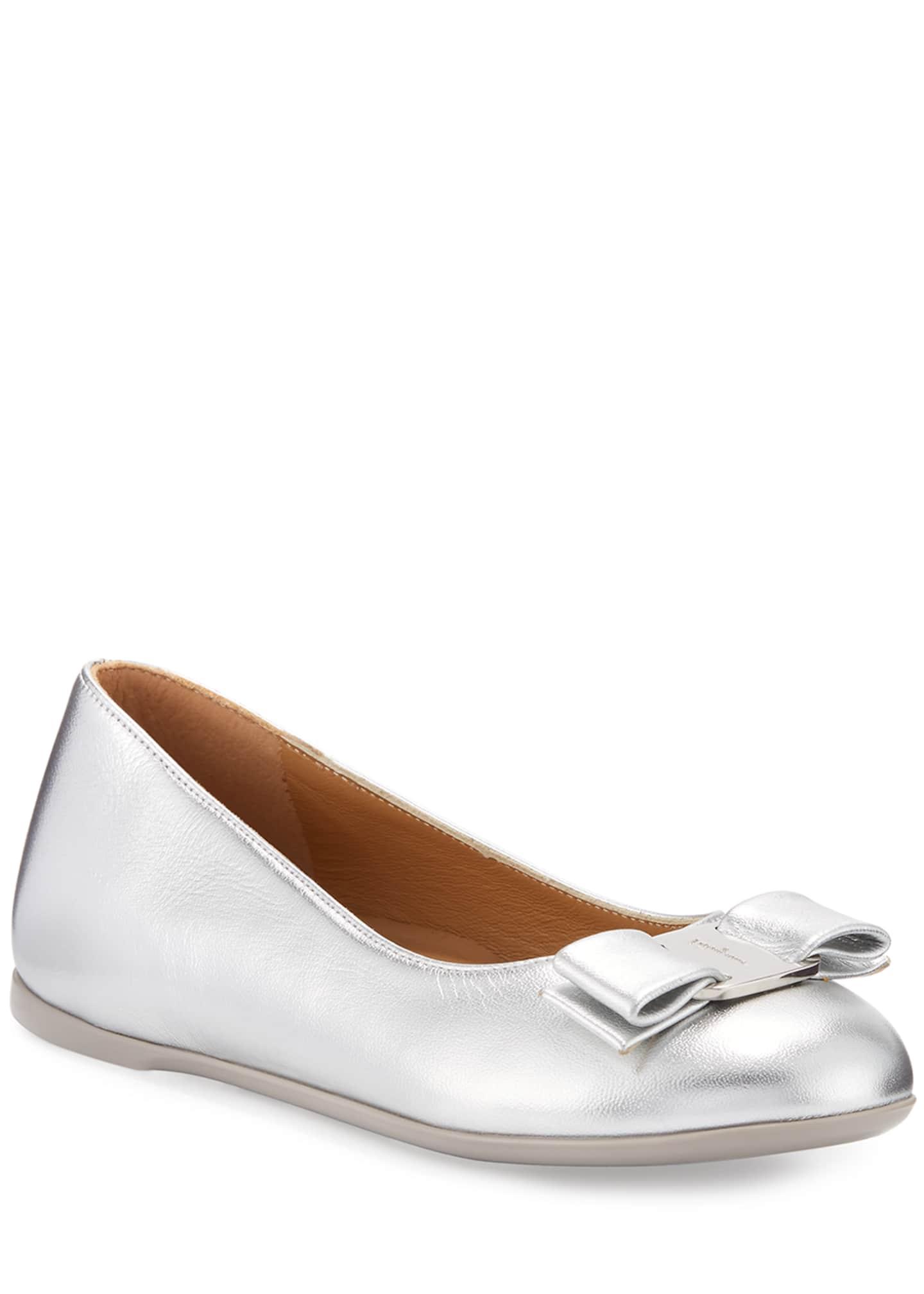 Salvatore Ferragamo Varina Mini Leather Ballet Flats, 10T-2Y