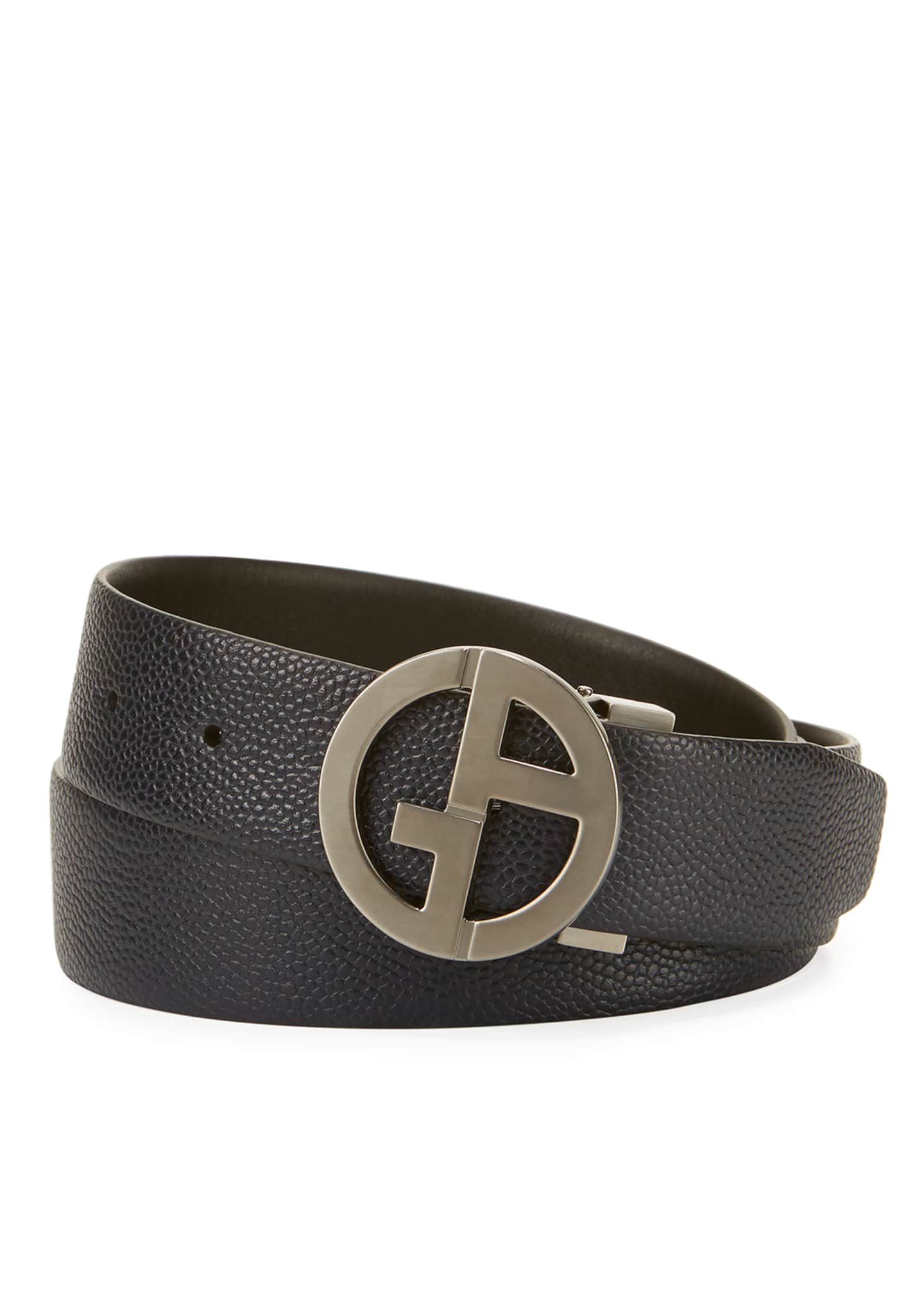 Image 1 of 1: Logo-Buckle Vitello Belt, Navy