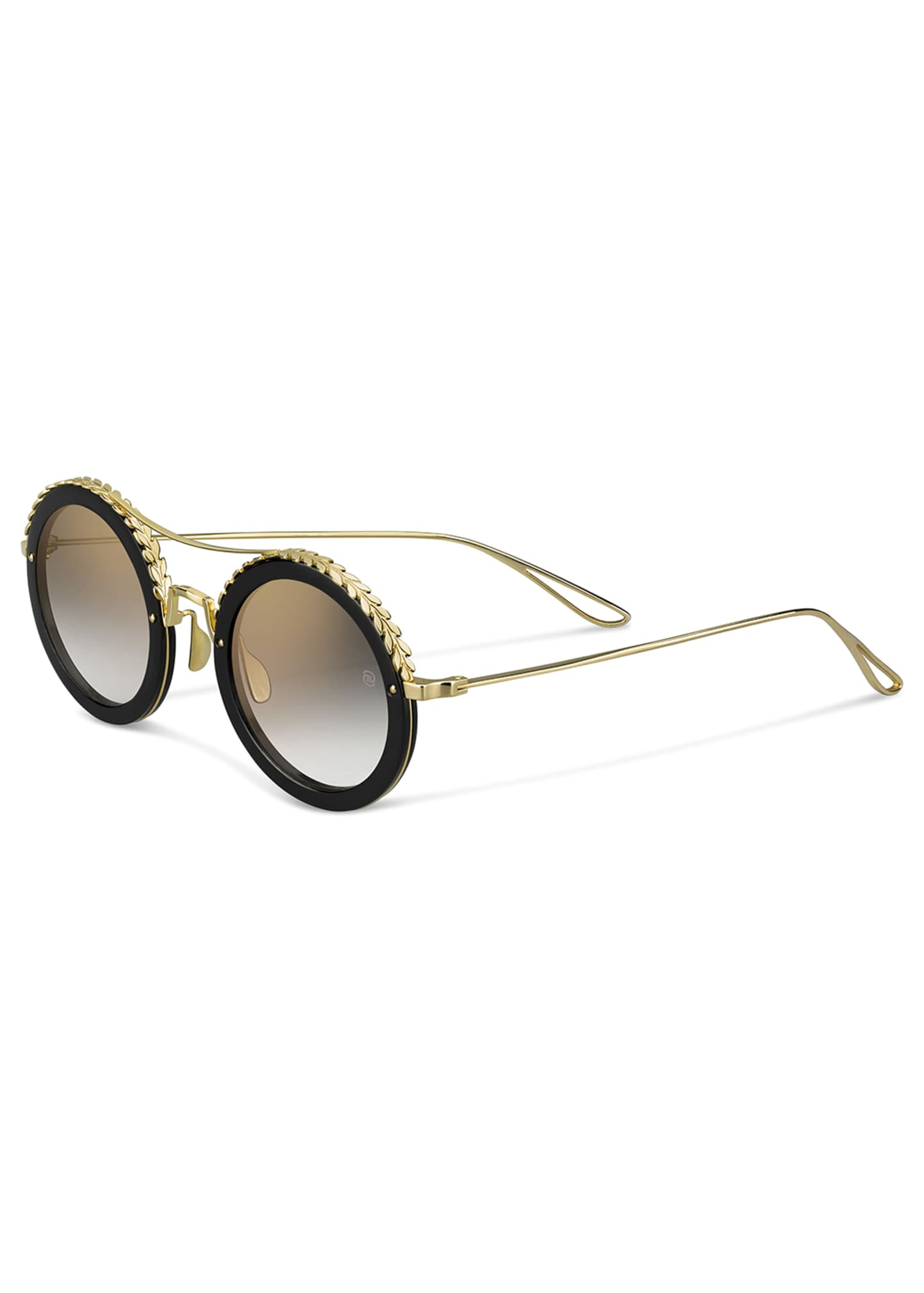 Elie Saab Mirrored Round Metal Sunglasses w/ Leaf