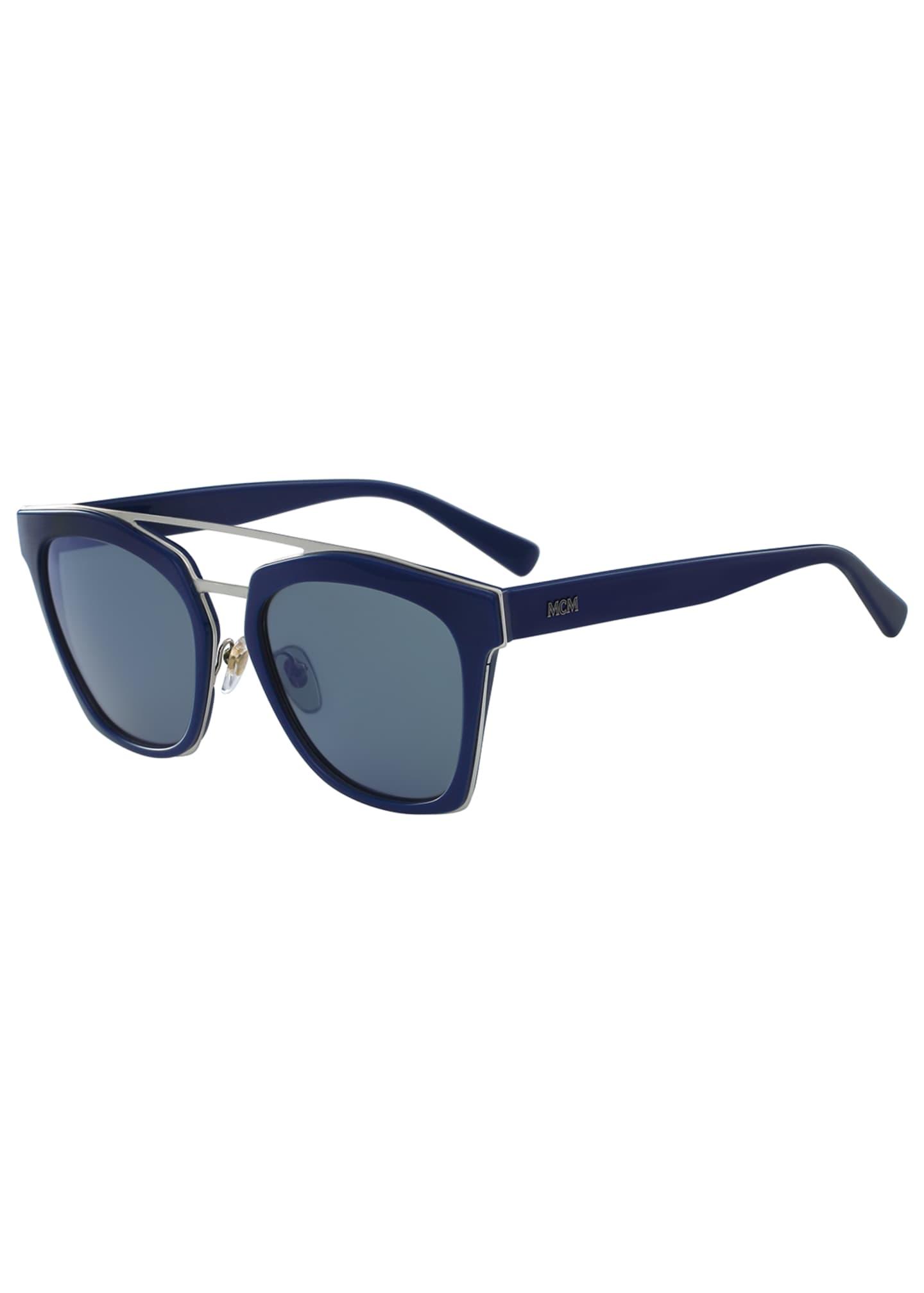 MCM Square Schoolboy Double-Bridge Sunglasses