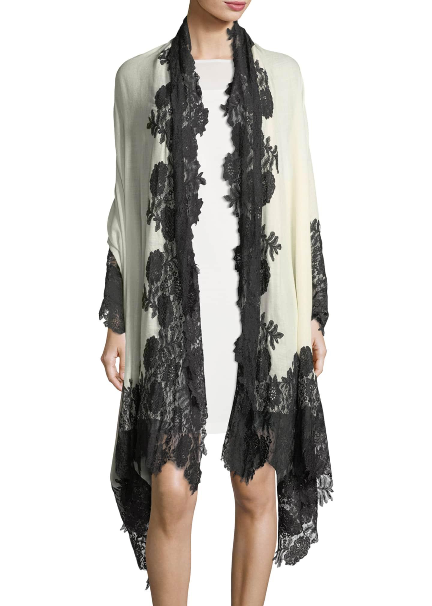 Bindya Accessories Cashmere Evening Stole Wrap w/ Lace