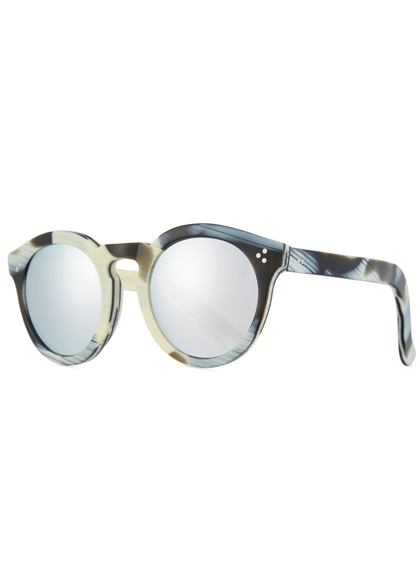 Illesteva Patterned Round Monochromatic Sunglasses
