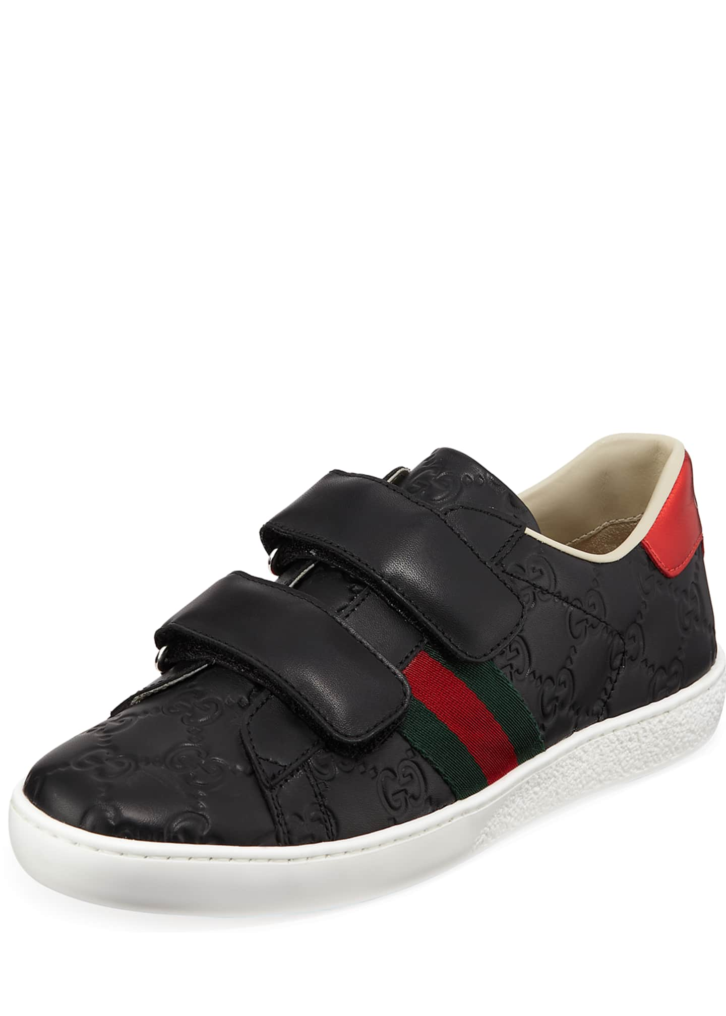 Gucci New Ace GG Supreme Leather Sneakers, Kids
