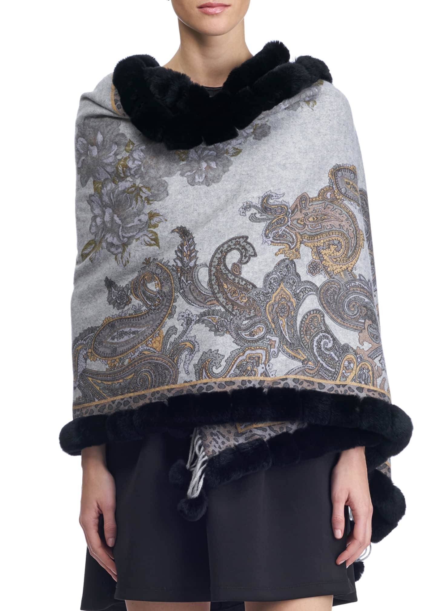 Gorski Paisley & Leopard Print Cashmere Stole w/