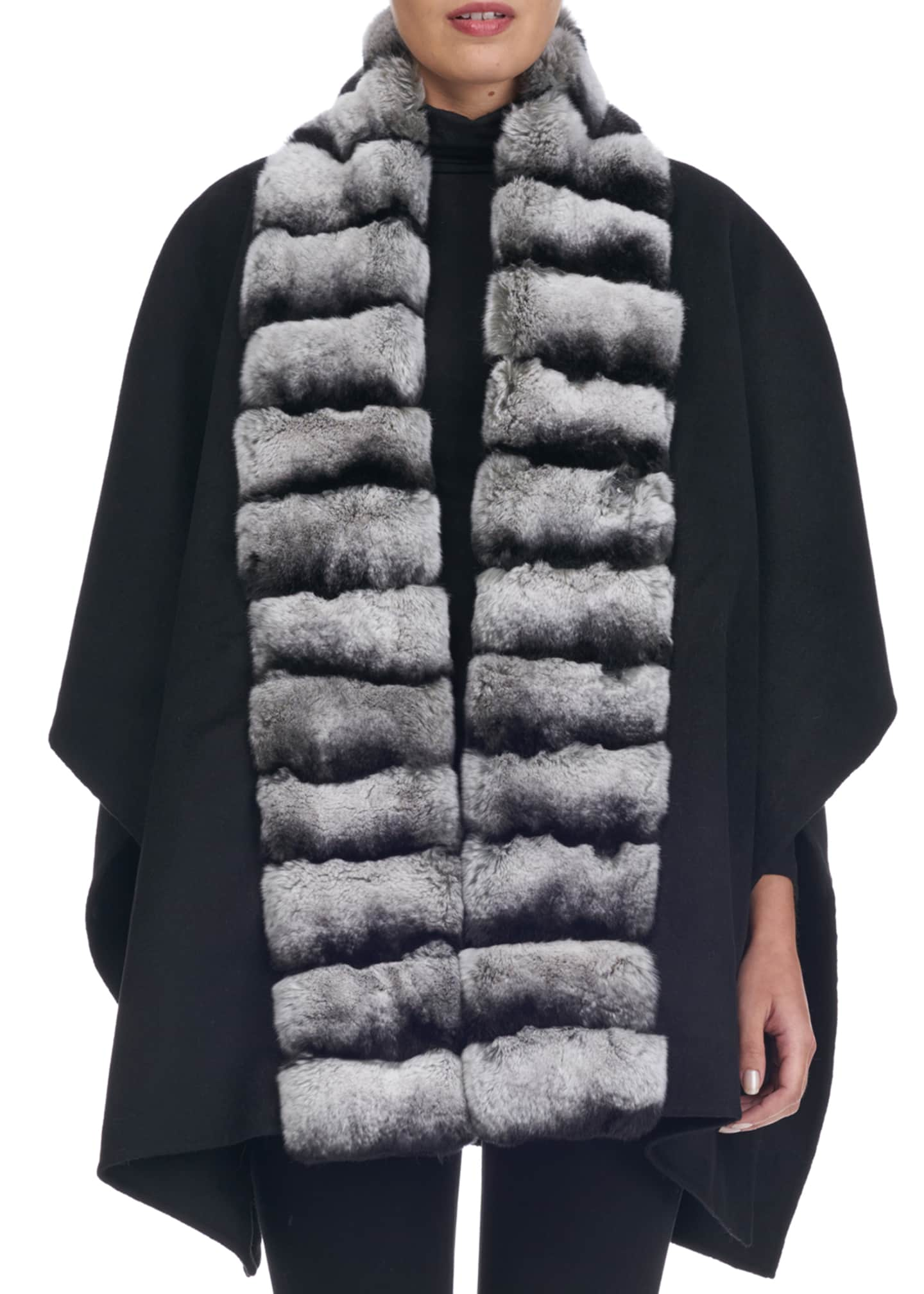 Gorski Wool Cape w/ Fur Collar Trim