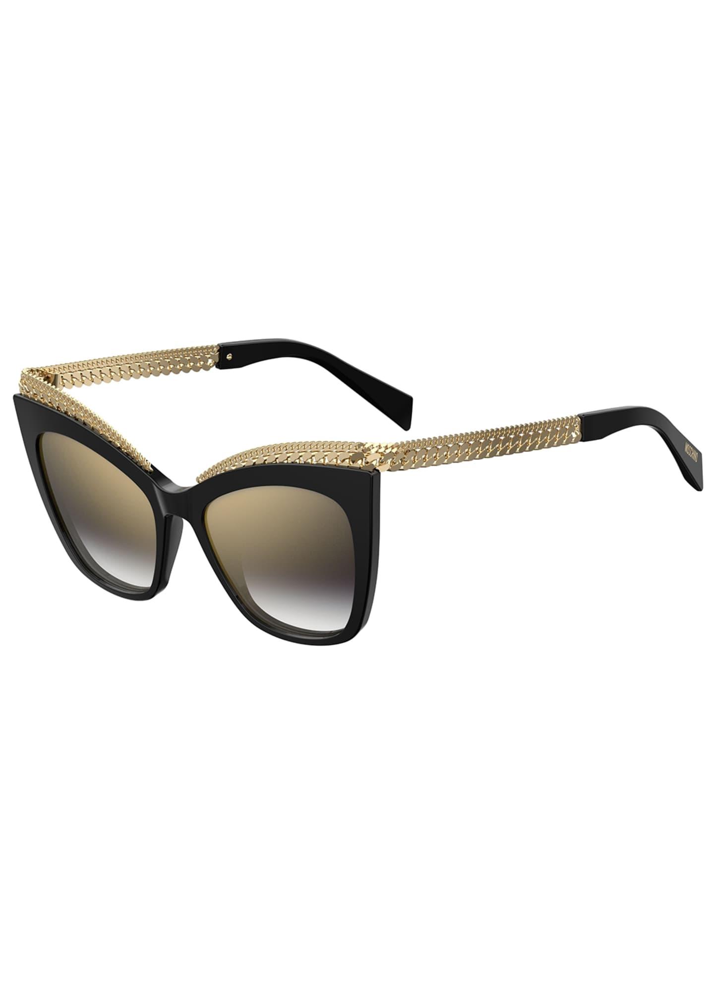 Moschino Mirrored Cat-Eye Sunglasses w/ Metal Curb Chain