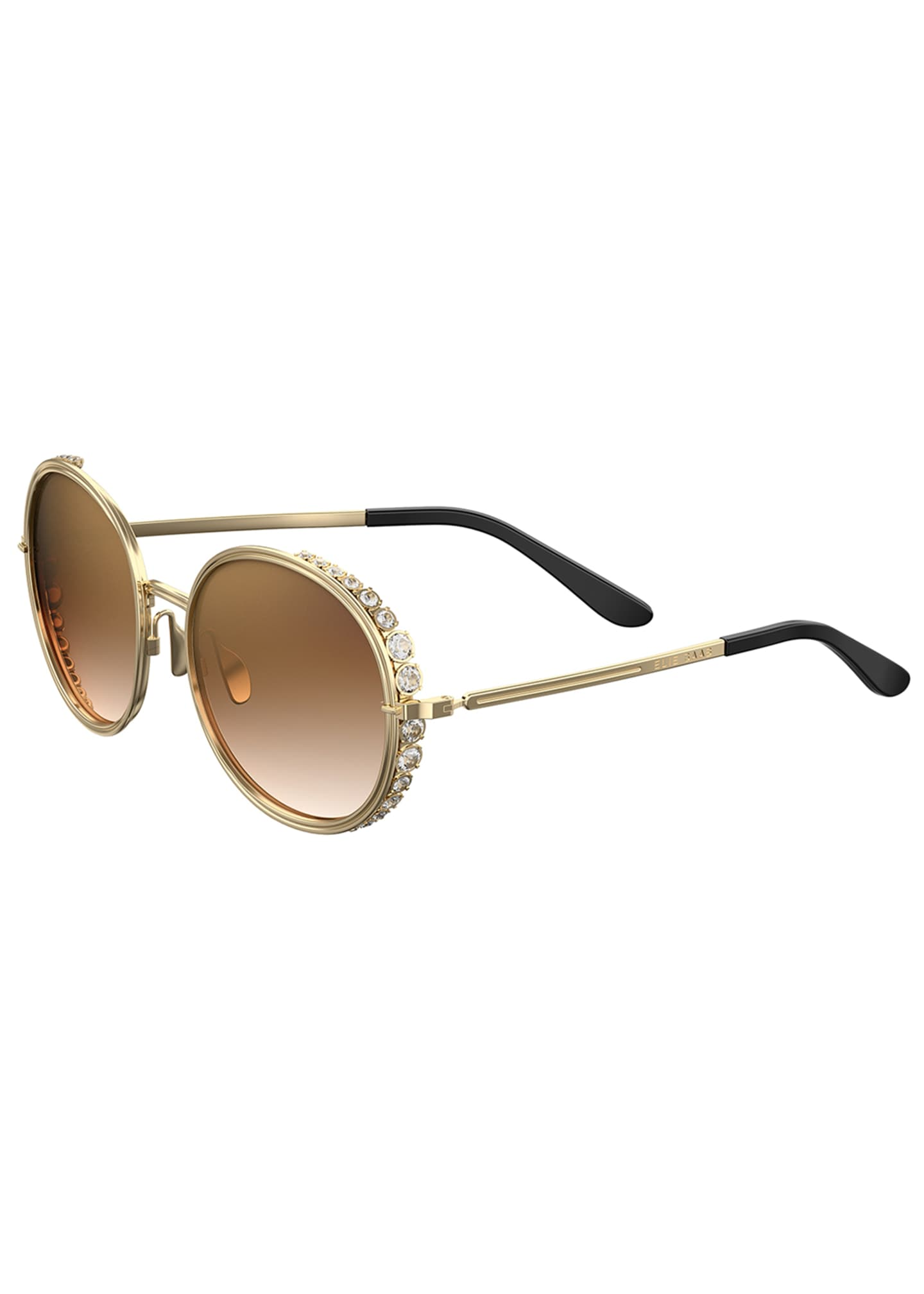 Elie Saab Round Crystal-Trim Sunglasses