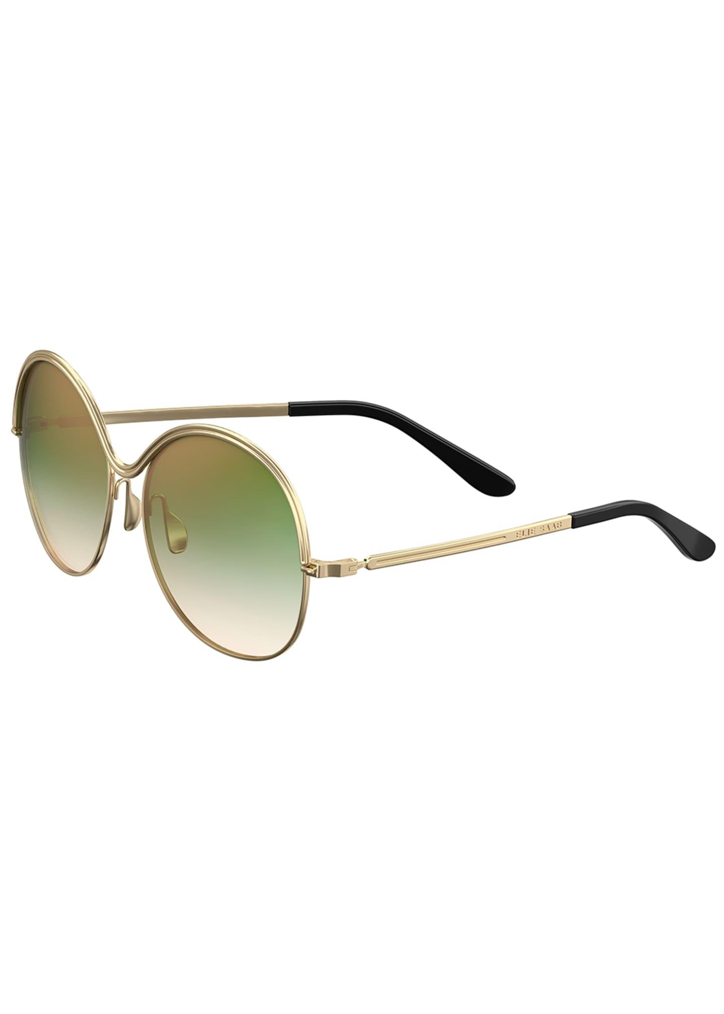 Elie Saab Round Ridged-Frame Gradient Sunglasses