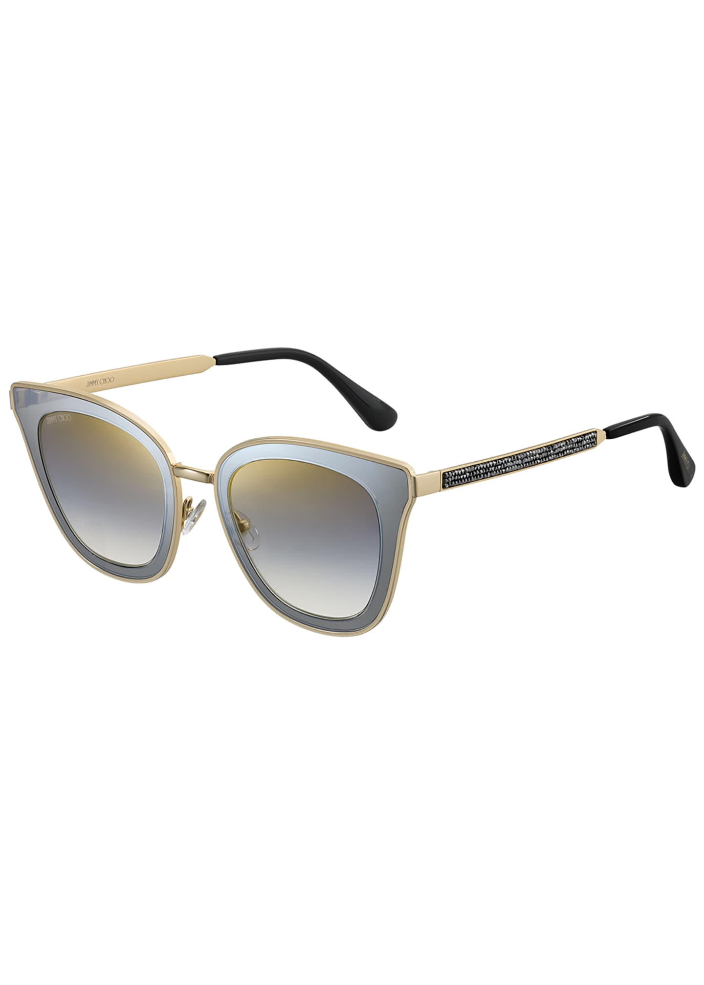 Jimmy Choo Lorys Cat-Eye Mirrored Sunglasses w/ Glittered