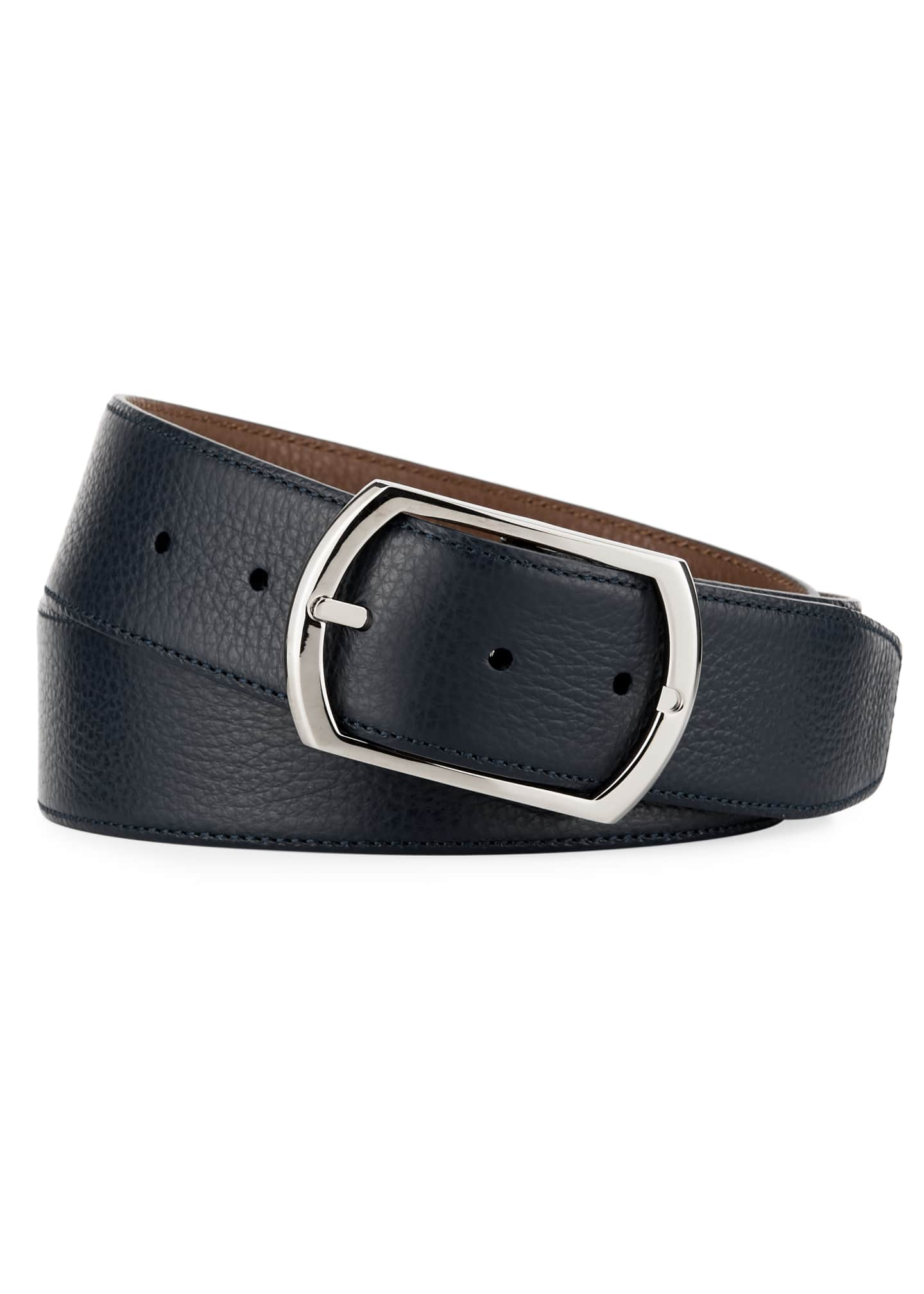 Image 2 of 2: Reversible Grained Leather Belt