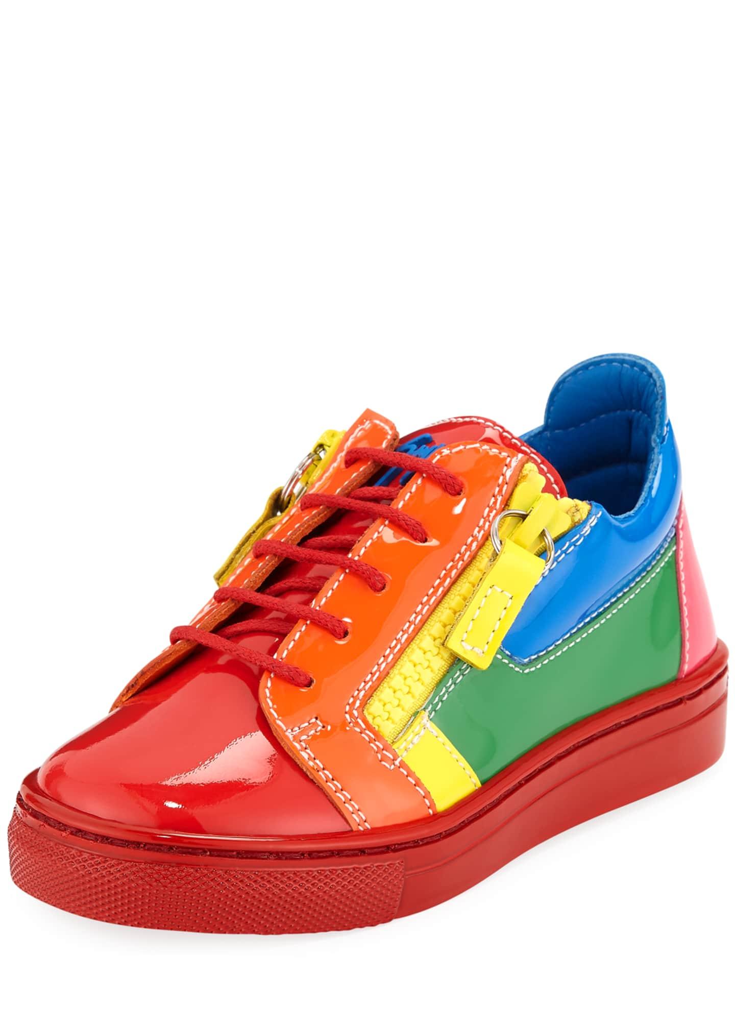 Giuseppe Zanotti Rainbow Patent Leather Low-Top Sneakers,