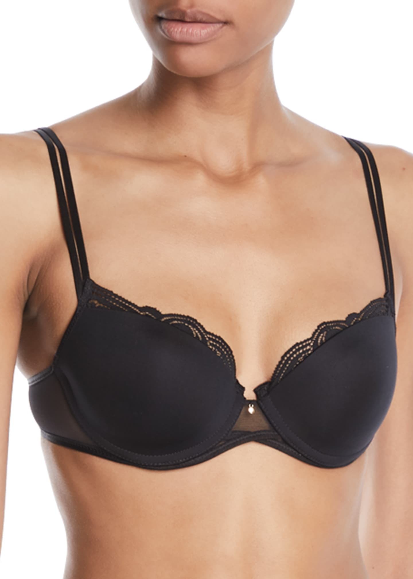 Image 1 of 2: Pyramide Lace-Trim Smooth Demi Bra