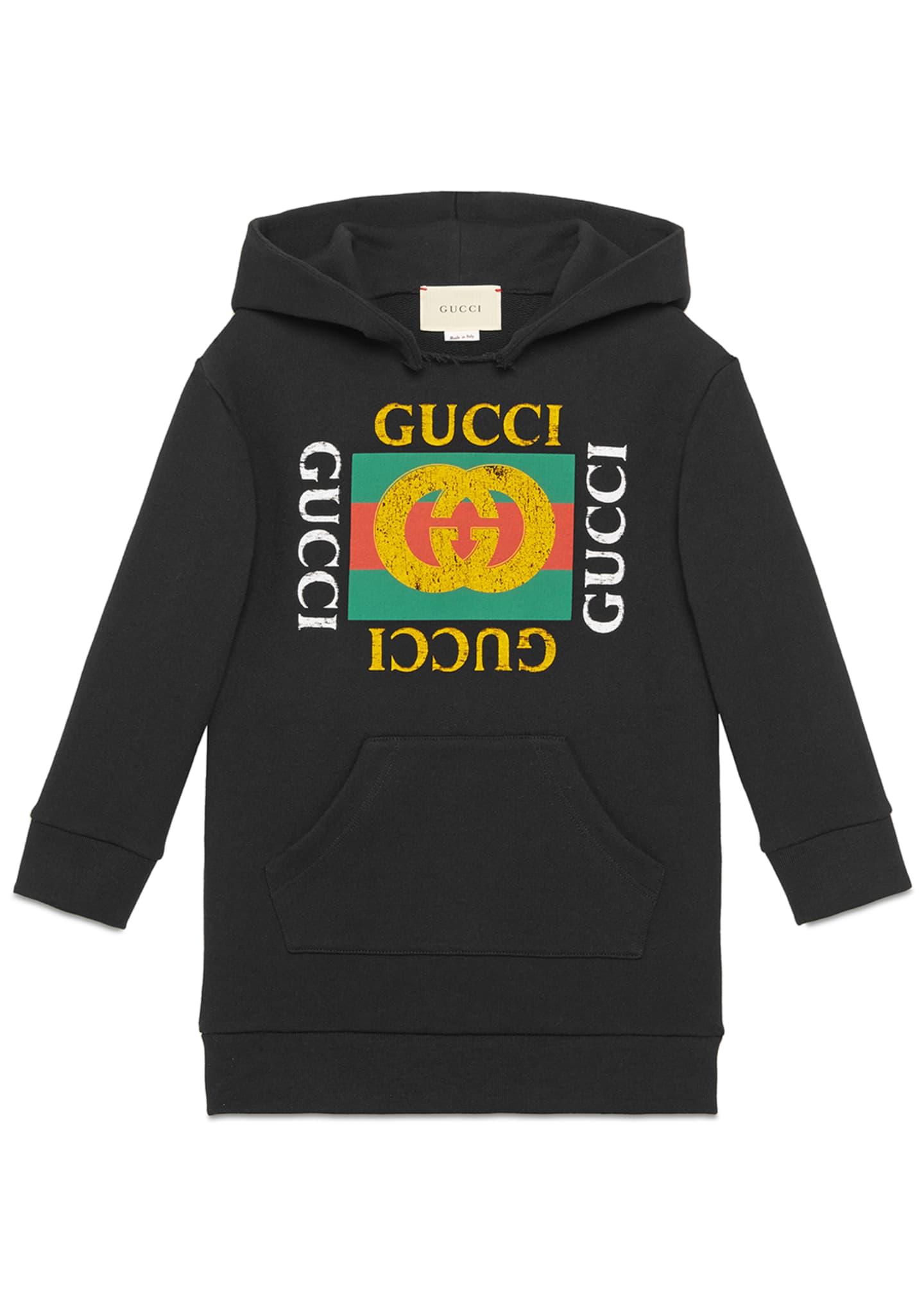 Gucci Hooded Sweatshirt Dress w/ Vintage Logo, Size