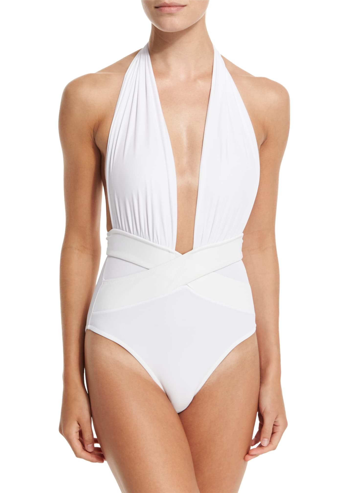Image 1 of 2: Roman Plunge-Neck One-Piece Swimsuit