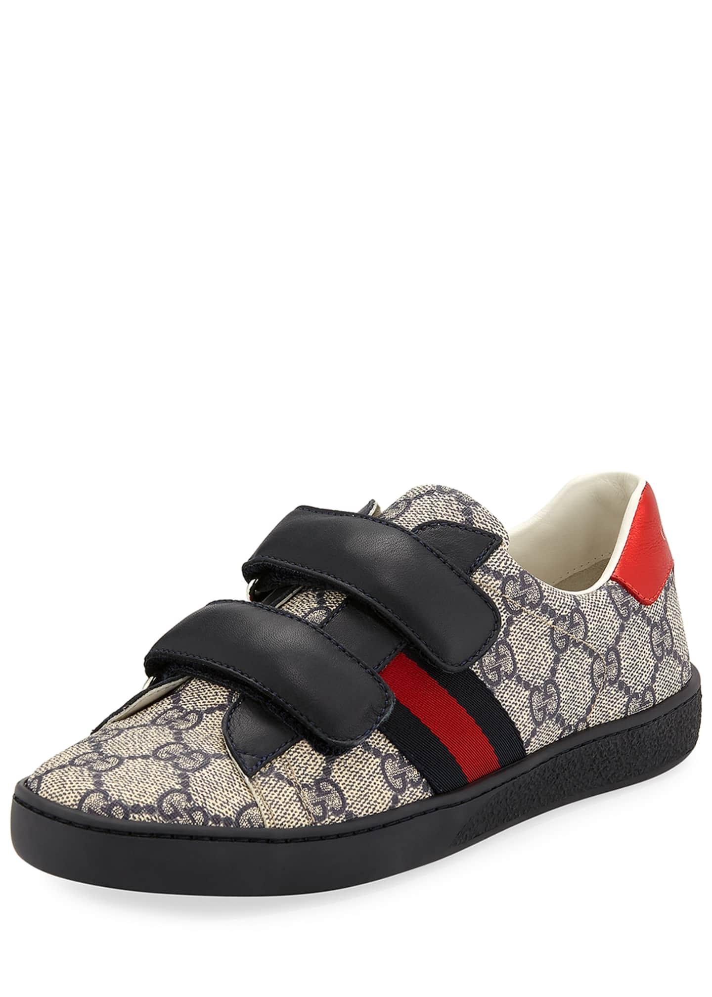 Gucci New Ace GG Supreme Canvas Web-Trim Sneakers,