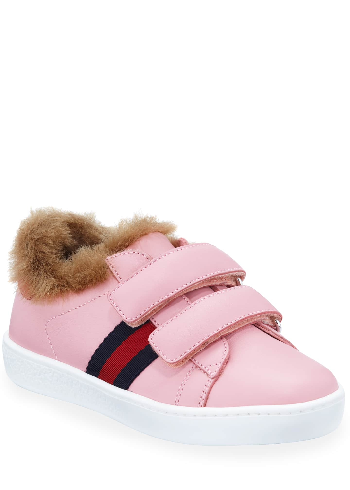 Aceweb new ace web-trim leather sneakers w/ faux-fur lining, toddler