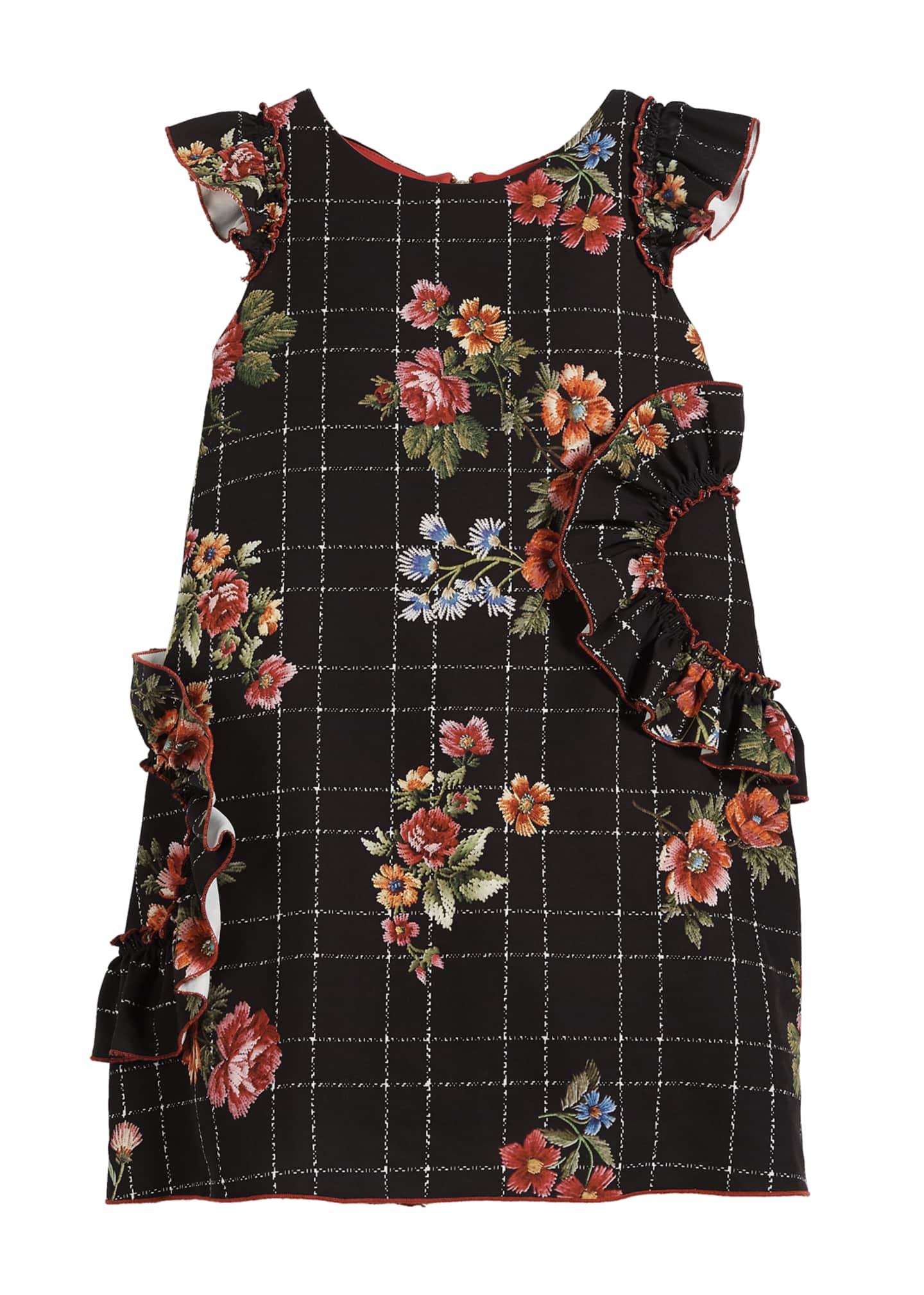 Zoe Blossom-Printed Ruffle-Trim Dress, Size 7-16