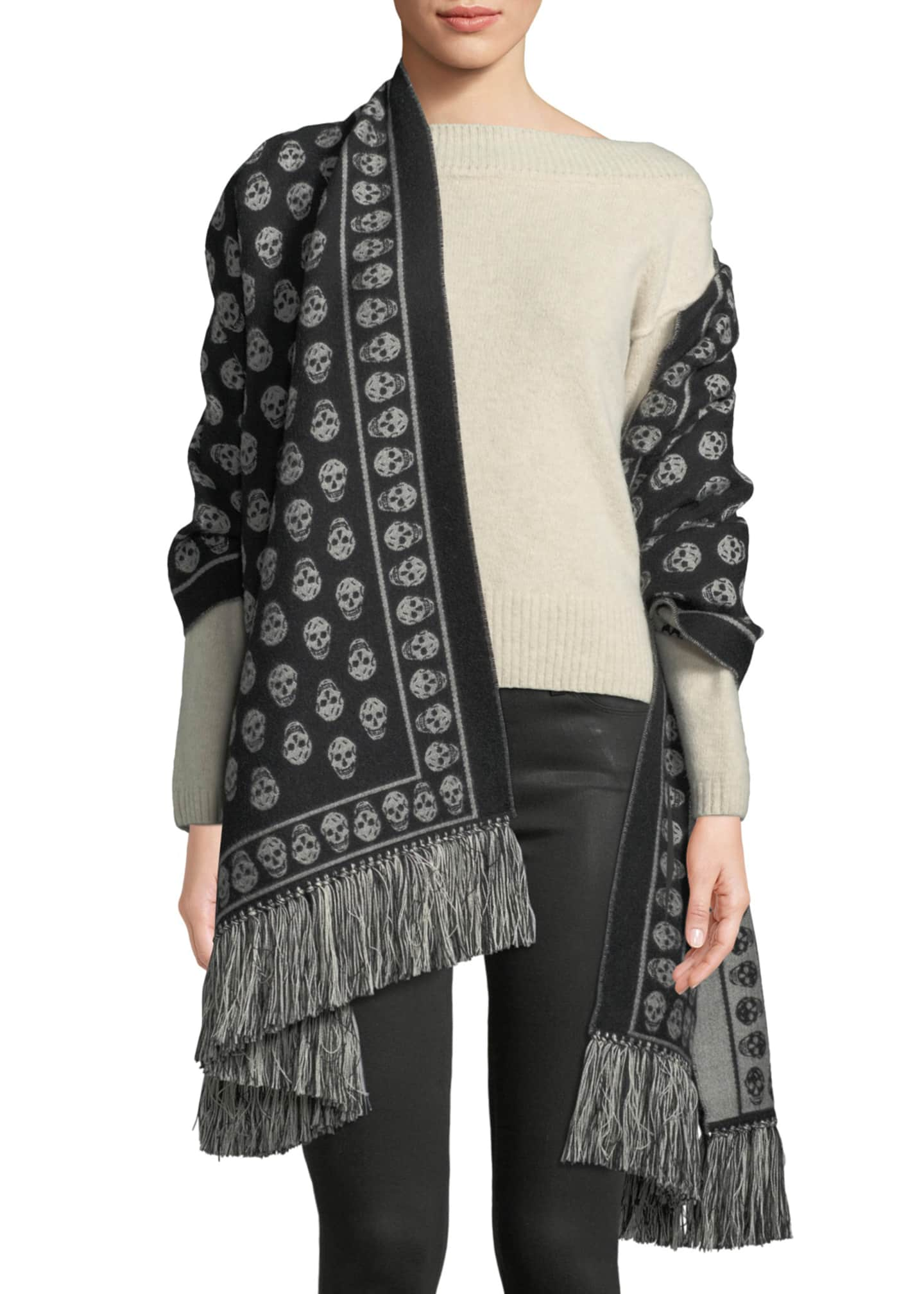 Alexander McQueen Extra Large Skull Scarf w/ Fringe