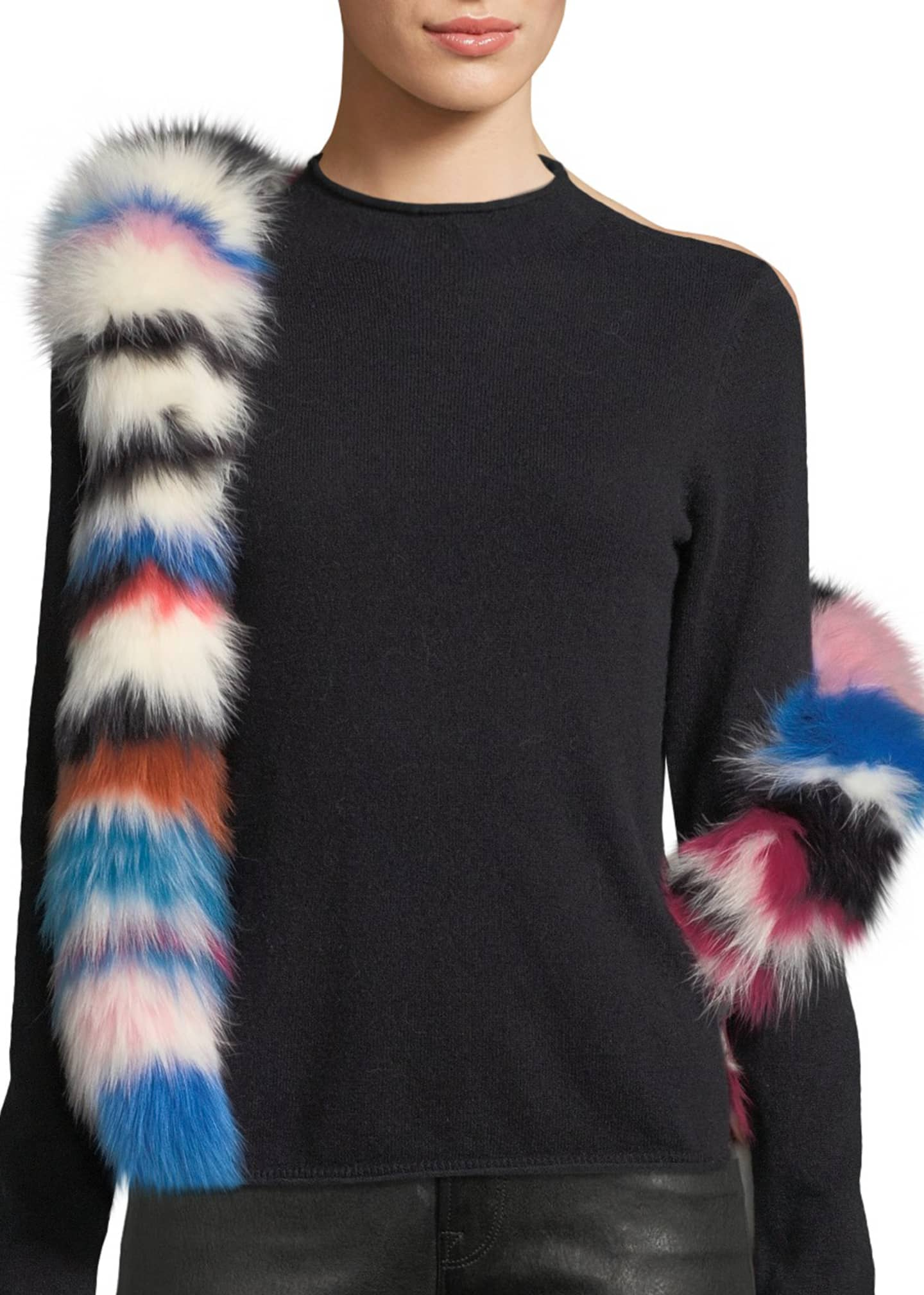 Charlotte Simone Chunky Monkey Multicolored Fur Scarf