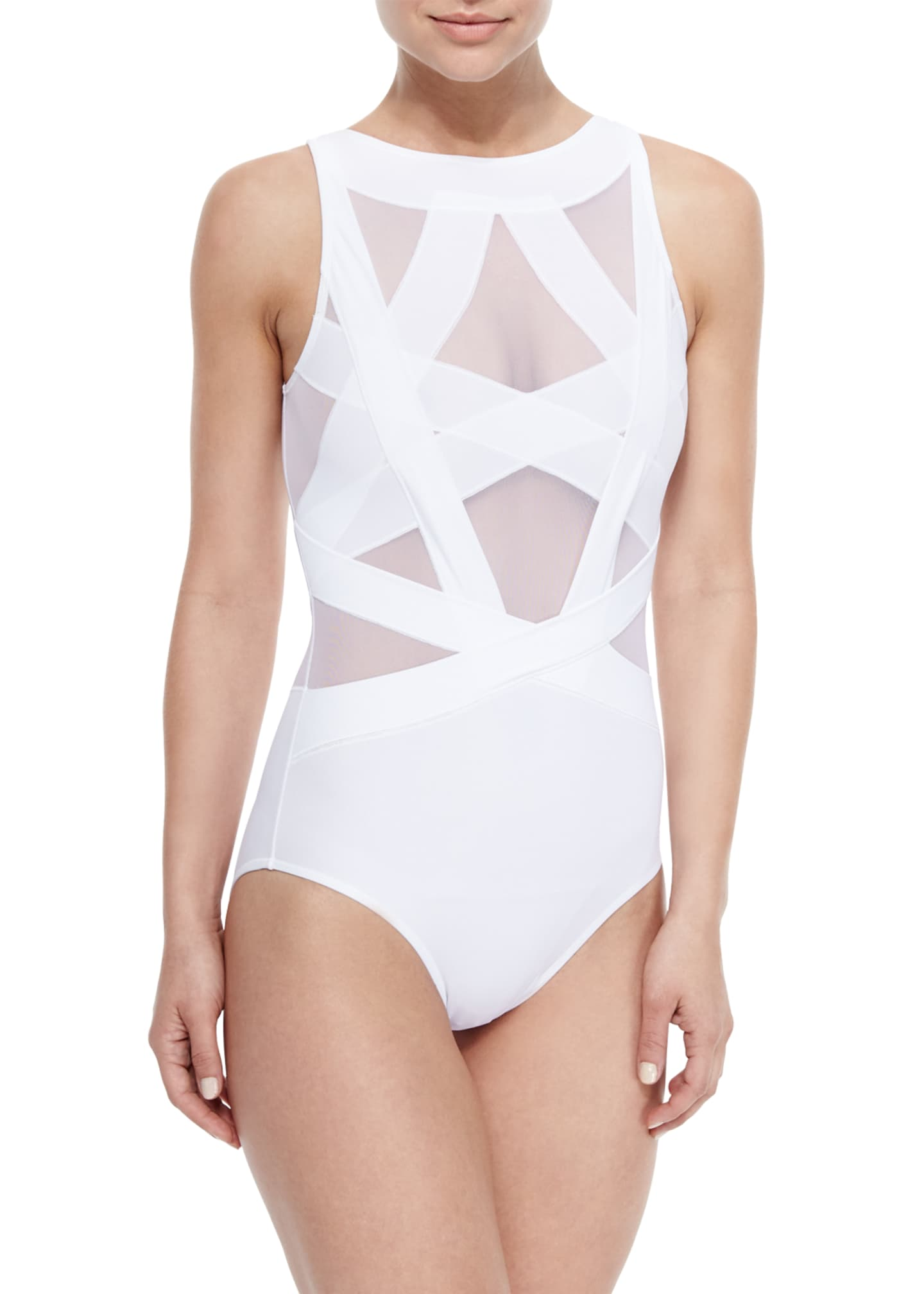Image 1 of 2: Esther Strappy Mesh One-Piece Swimsuit