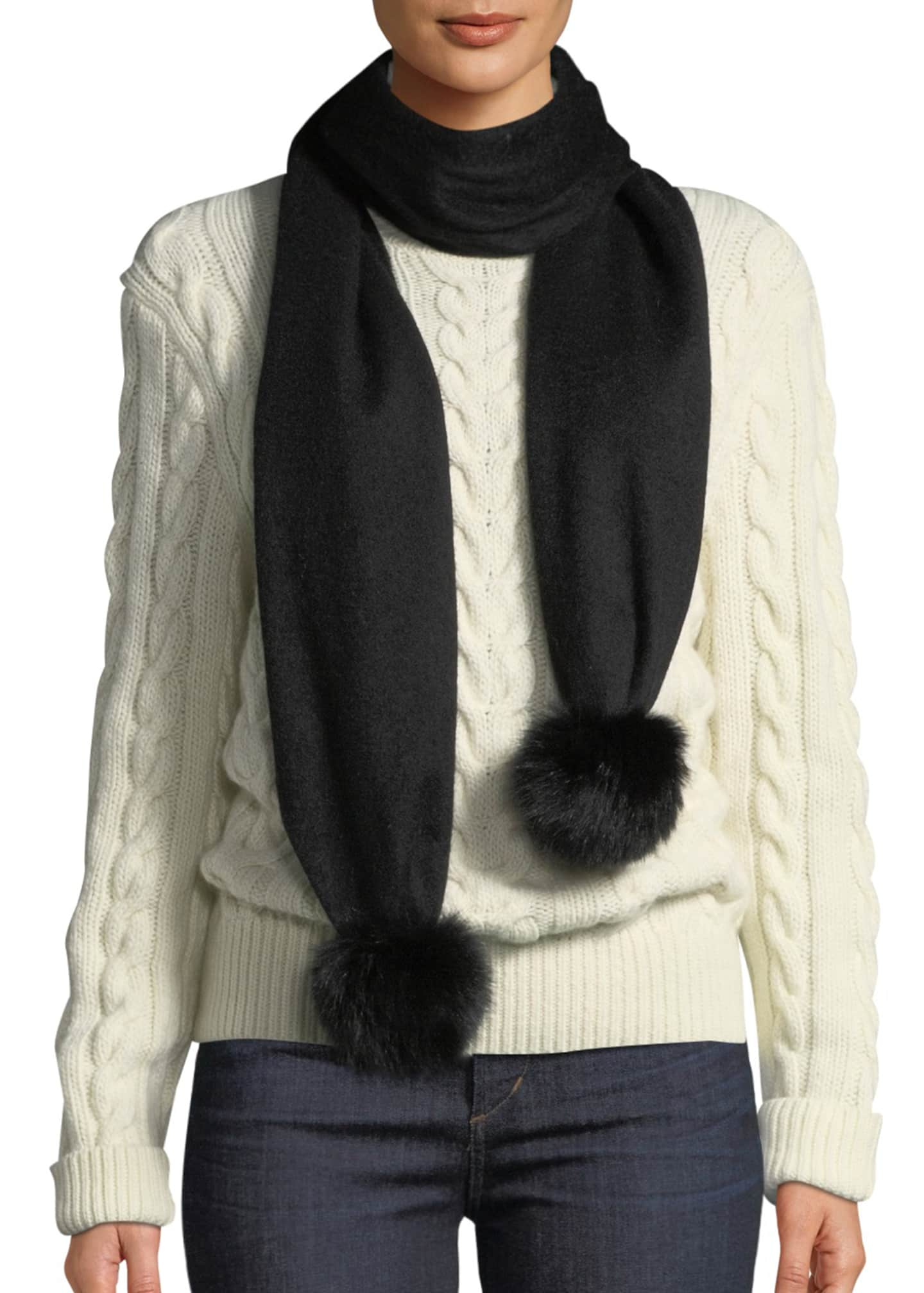 Gorski Cashmere Scarf w/ Fur Pompoms