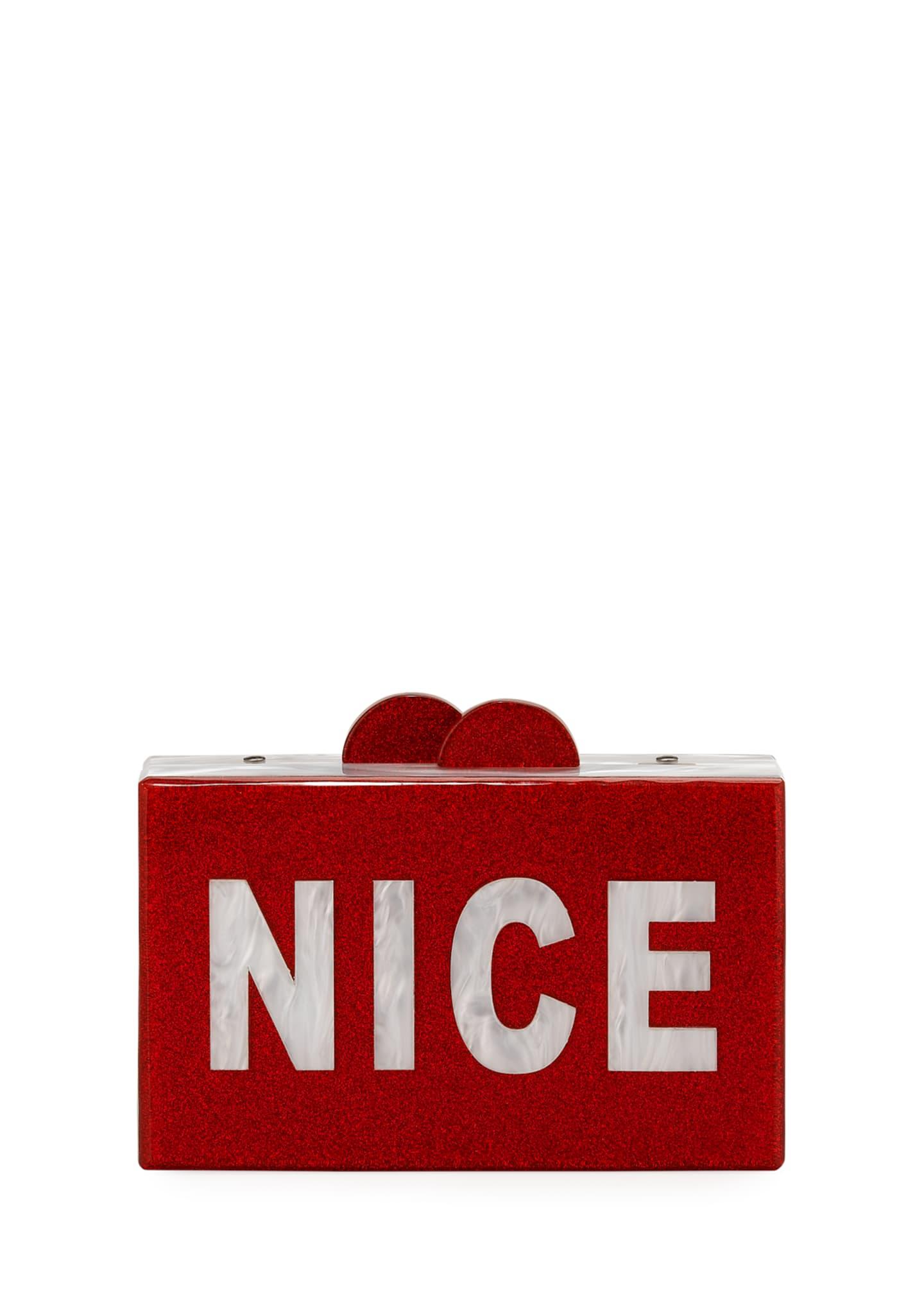 Bari Lynn Girls' Naughty/Nice Glittered Acrylic Box Clutch