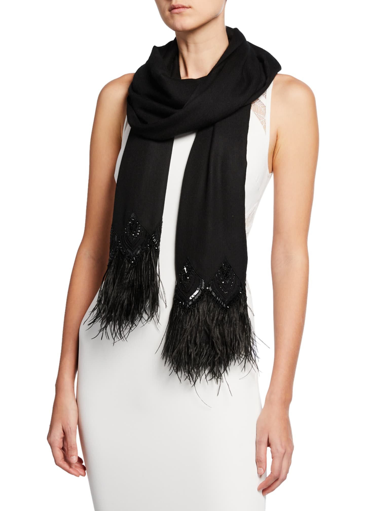 Image 1 of 2: Feather-Border Cashmere Scarf