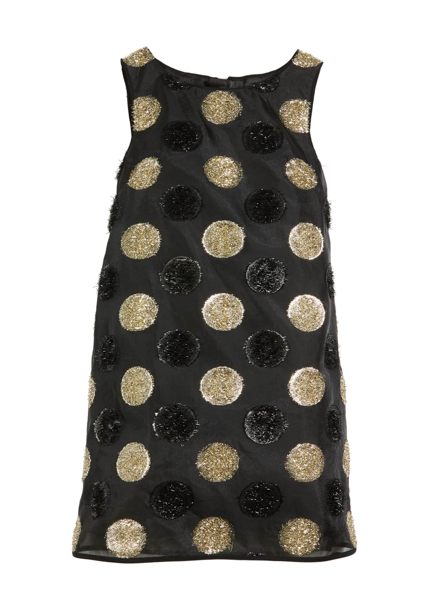 Milly Minis Textured Polka-Dot Angular Shift Dress, Size