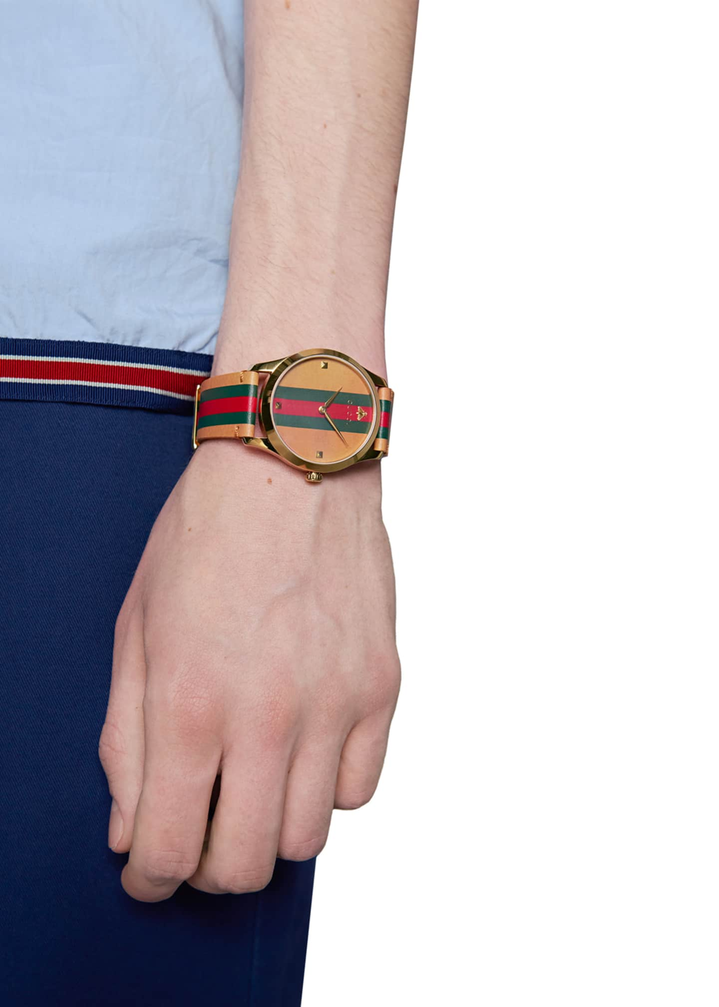 Image 4 of 4: Men's Tricolor Leather Web Watch