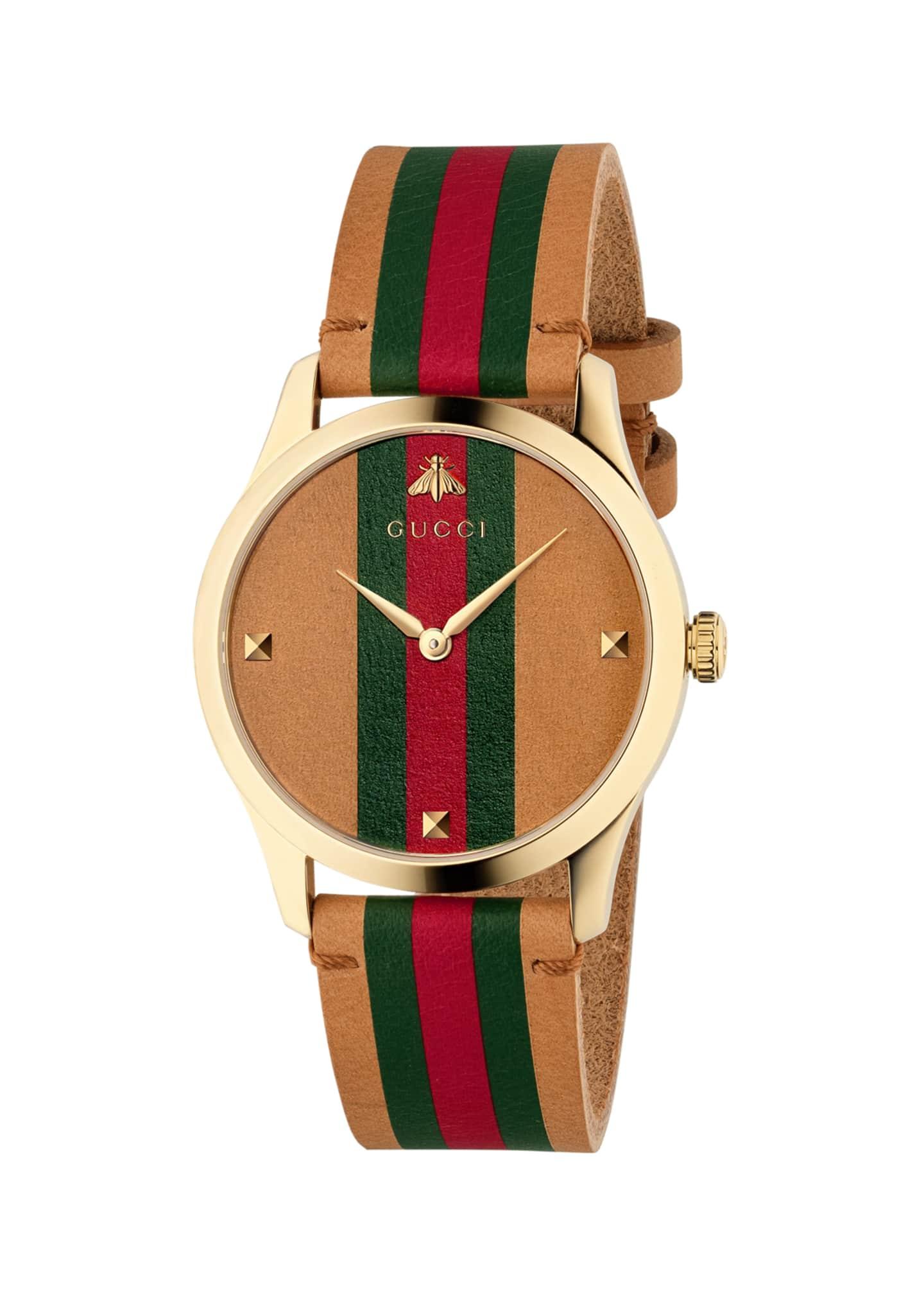 Gucci Men's Tricolor Leather Web Watch